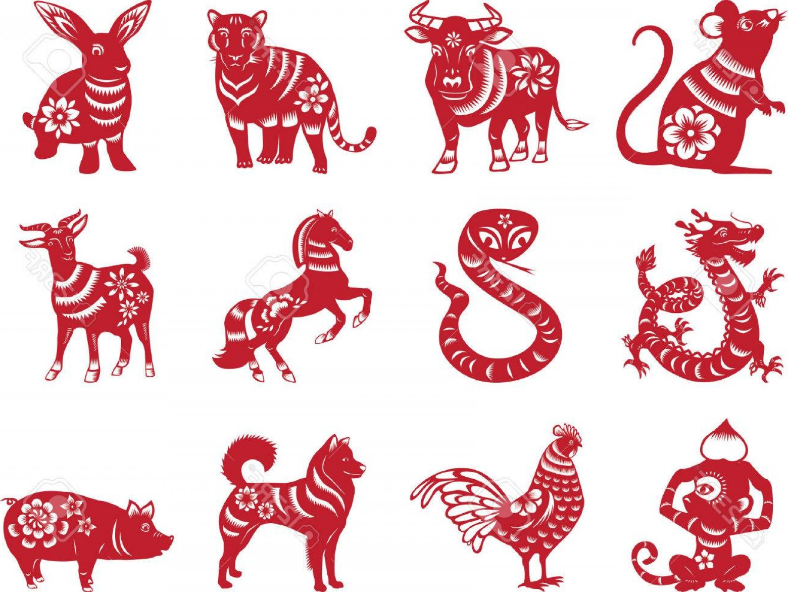 Vector Chinese Horoscope: Photostock Vector Chinese Zodiac Signs Paper Cut Style