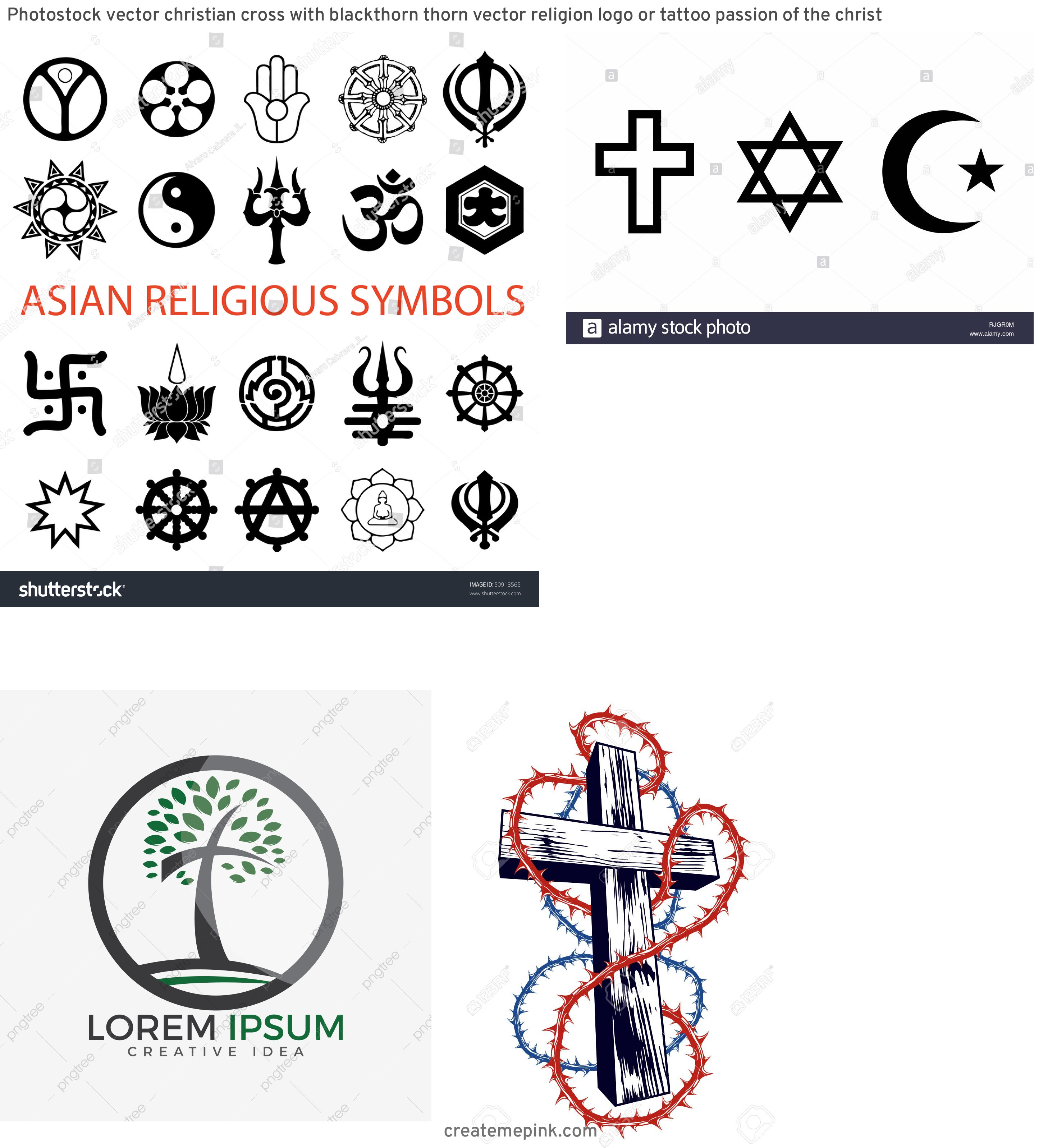 Religous Vectors: Photostock Vector Christian Cross With Blackthorn Thorn Vector Religion Logo Or Tattoo Passion Of The Christ