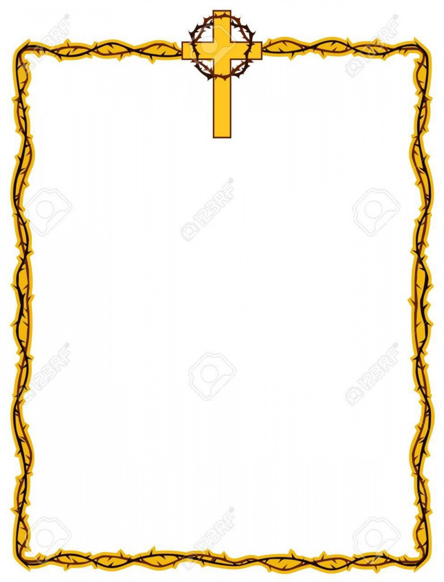 Christian Vector Borders: Photostock Vector Christian Frame Design With Cross And Crown Of Thorns