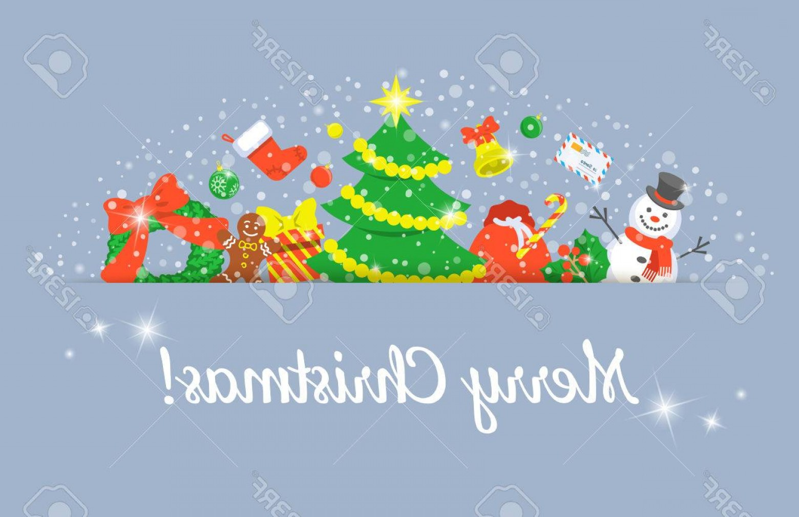 Christmas Horizontal Vector: Photostock Vector Christmas Background Horizontal Header Vector Banner With Holiday Celebration Symbols Festive Decora