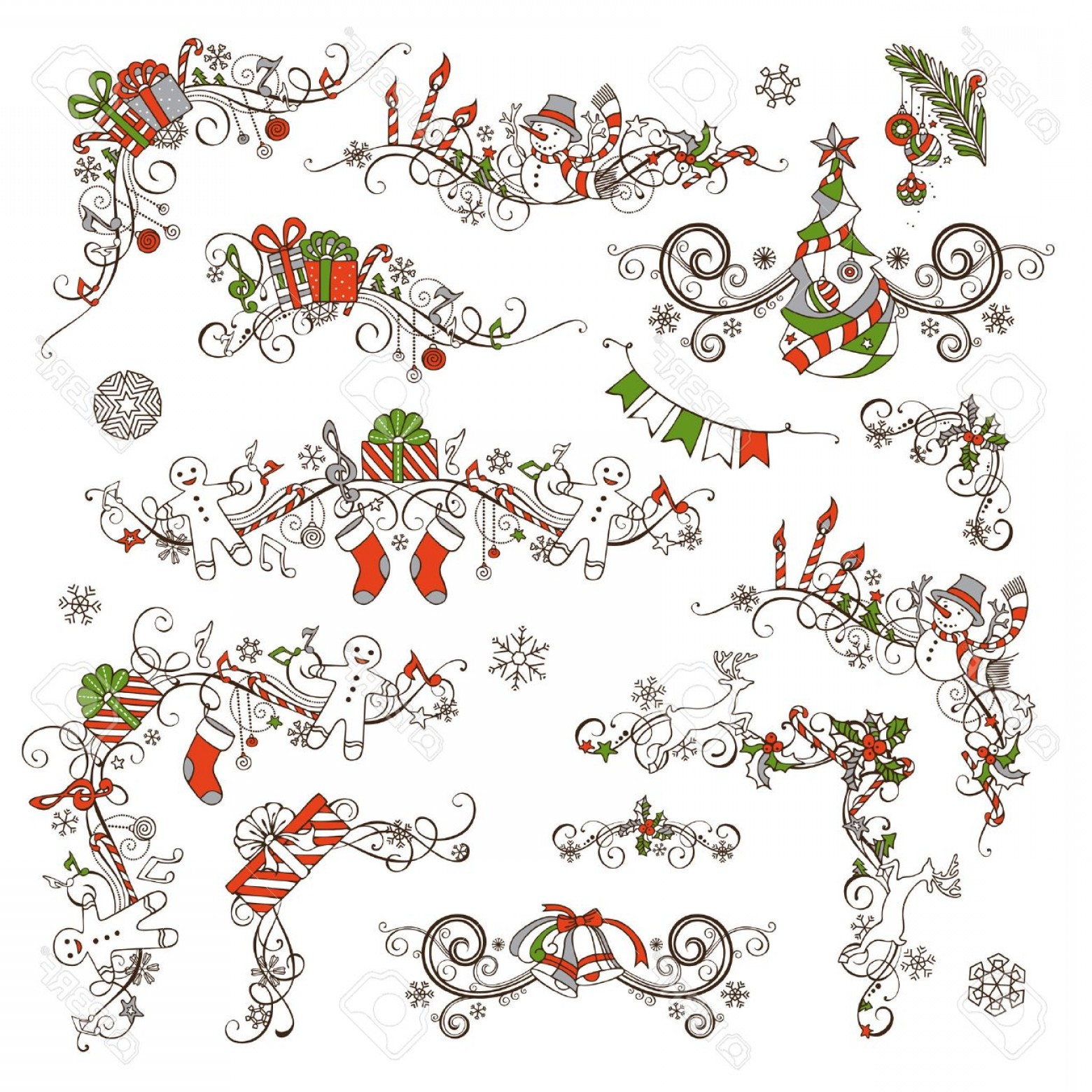 Christmas Divider Vector: Photostock Vector Christmas Calligraphic Page Decorations And Dividers Vector Set For Your Holiday Layout Christmas Tr