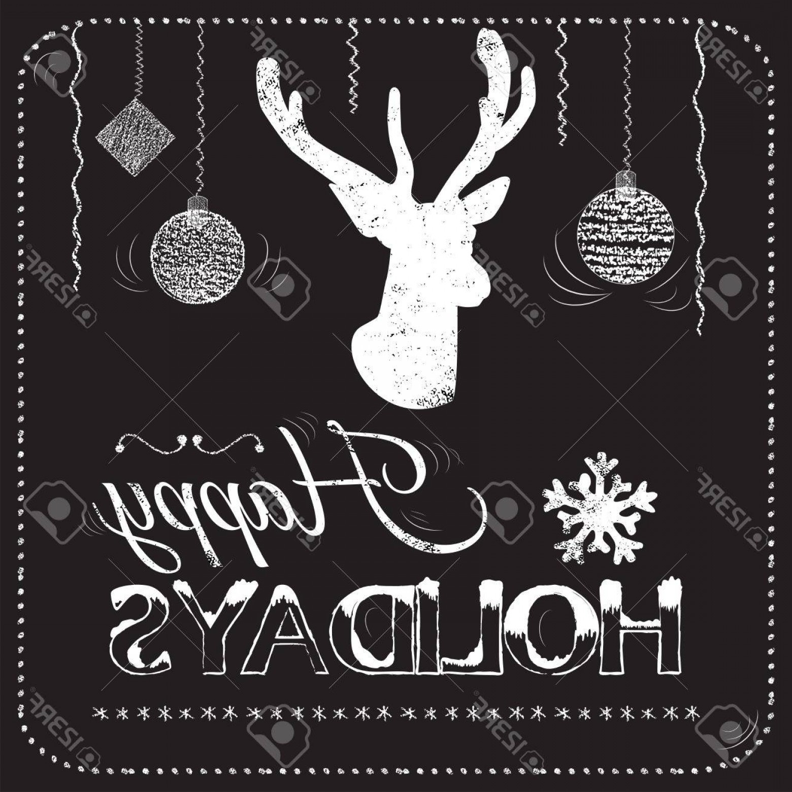 Vector Silhouette Happy Holidays: Photostock Vector Christmas Card On The Chalkboard With The Words Happy Holidays With The Silhouette Of A Head Deer Ve