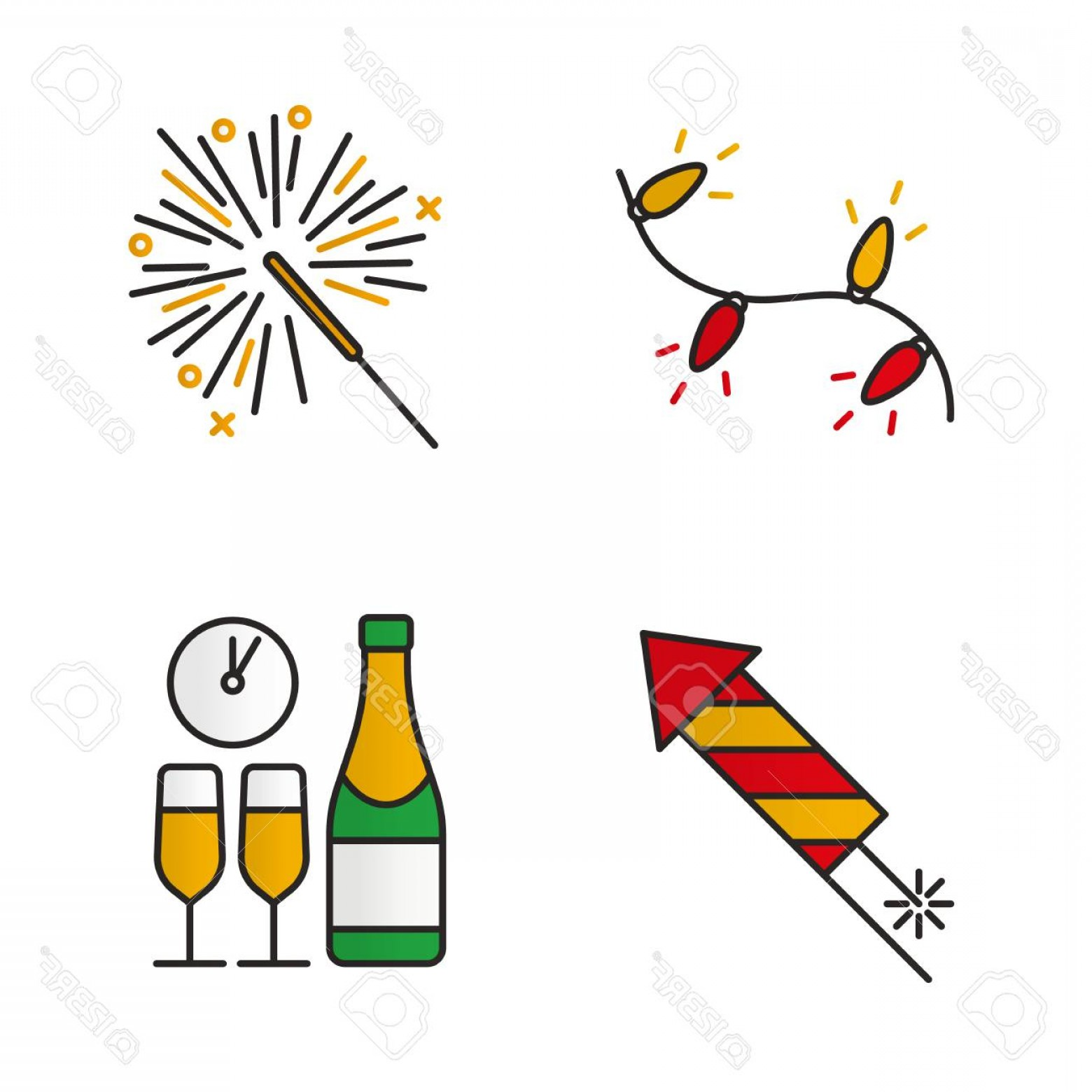 Vector New Year's Eve: Photostock Vector Christmas Color Icons Set New Year S Eve Christmas Tree Garland Rocket Firework Sparkler Champagne B