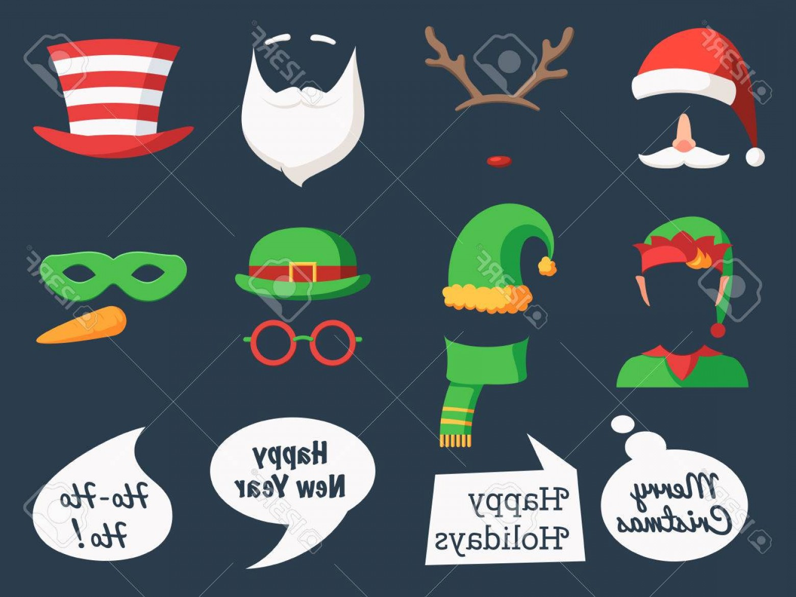 Mask Overlay Vector: Photostock Vector Christmas Decoration Collection Face Cut Mask Silhouette And Speech Bubbles Props And Cute Photo Ove
