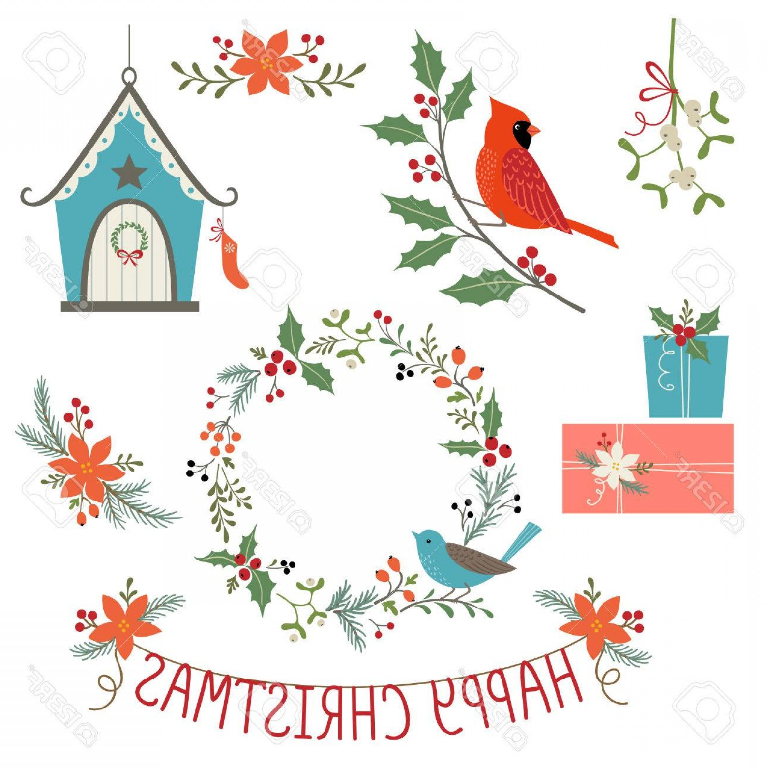 Vector Bird House: Photostock Vector Christmas Floral Decoration Gifts Bird House And Birds