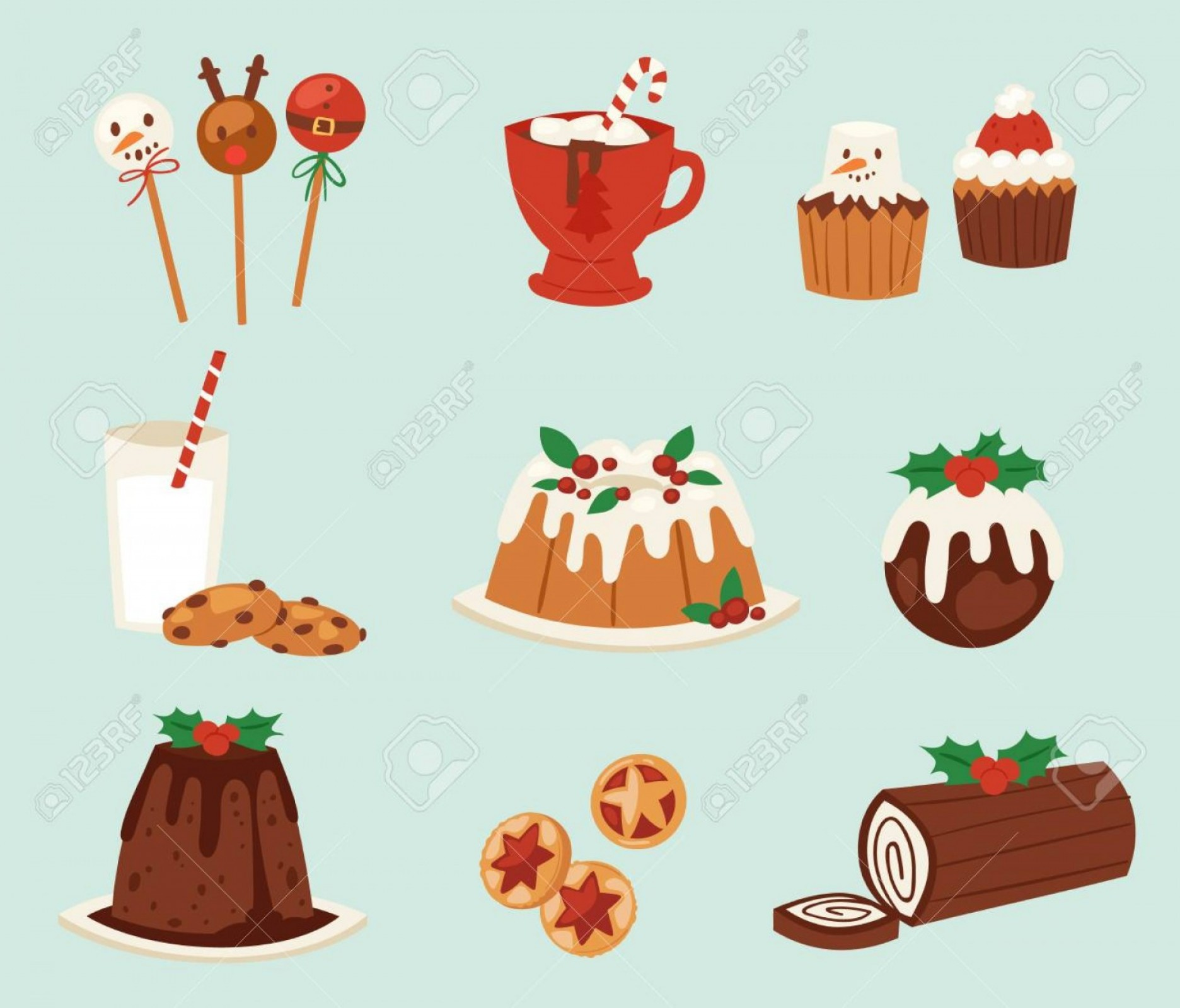 Vectors Holiday Baking: Photostock Vector Christmas Food Vector Desserts Holiday Decoration Xmas Family Diner Sweet Celebration Meal Illustrat