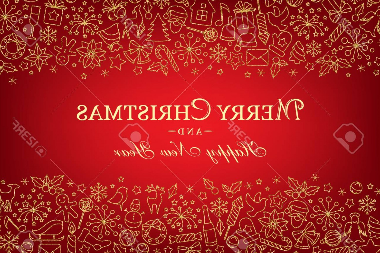 Christmas Horizontal Vector: Photostock Vector Christmas Horizontal Banner With Borders From Line Art Decorations Holiday Red Background With Linea