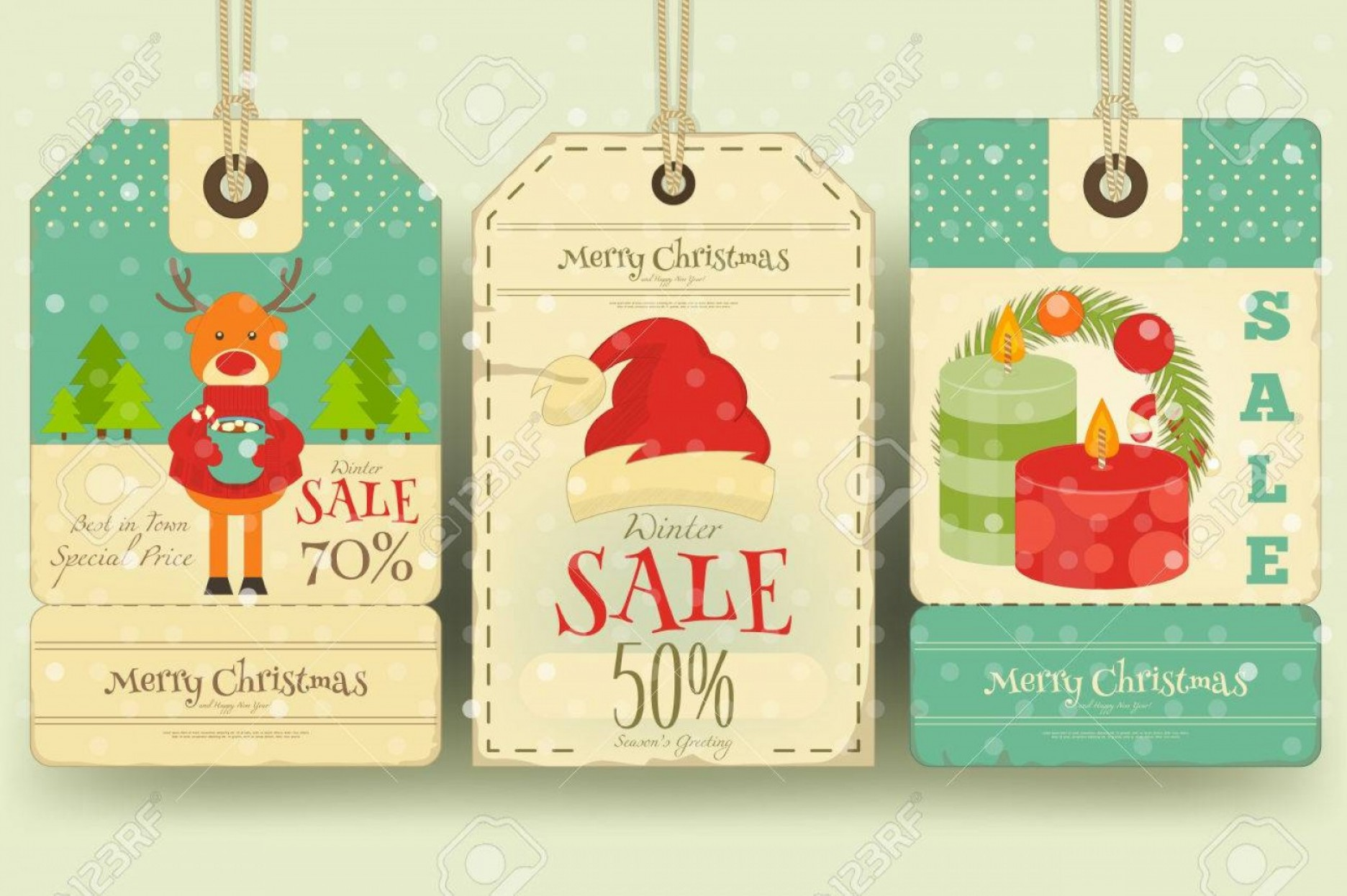 Vintage Xmas Sale Tag Vector: Photostock Vector Christmas Sale Tags In Retro Style With Xmas Decoration Winter Sell Out Labels Collection Vector Ill