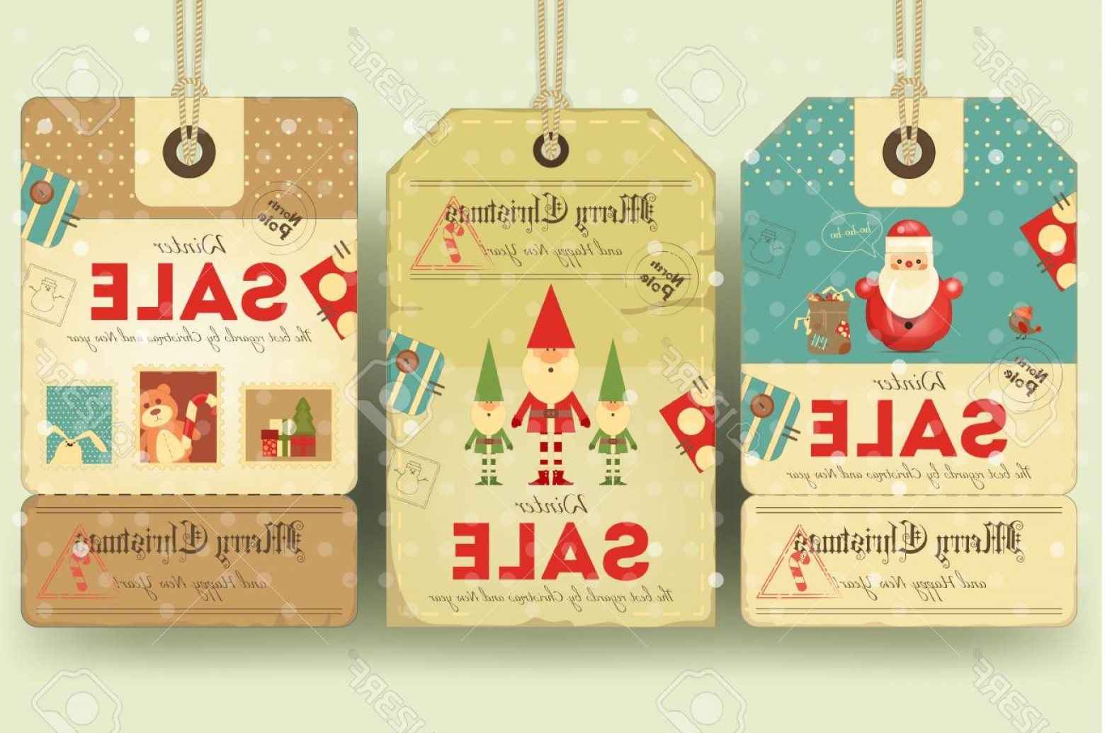 Vintage Xmas Sale Tag Vector: Photostock Vector Christmas Sale Tags In Retro Style With Xmas Symbols Santa Claus Elves Winter Sell Out Labels Collec