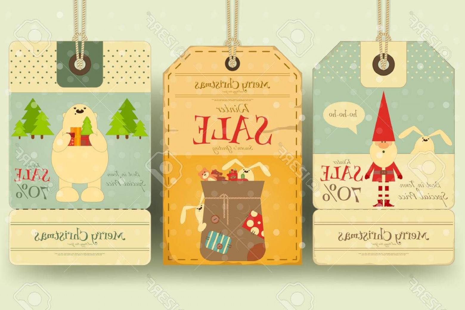 Vintage Xmas Sale Tag Vector: Photostock Vector Christmas Sale Tags In Retro Style With Xmas Symbols Santa Claus Polar Bear Winter Sell Out Labels C