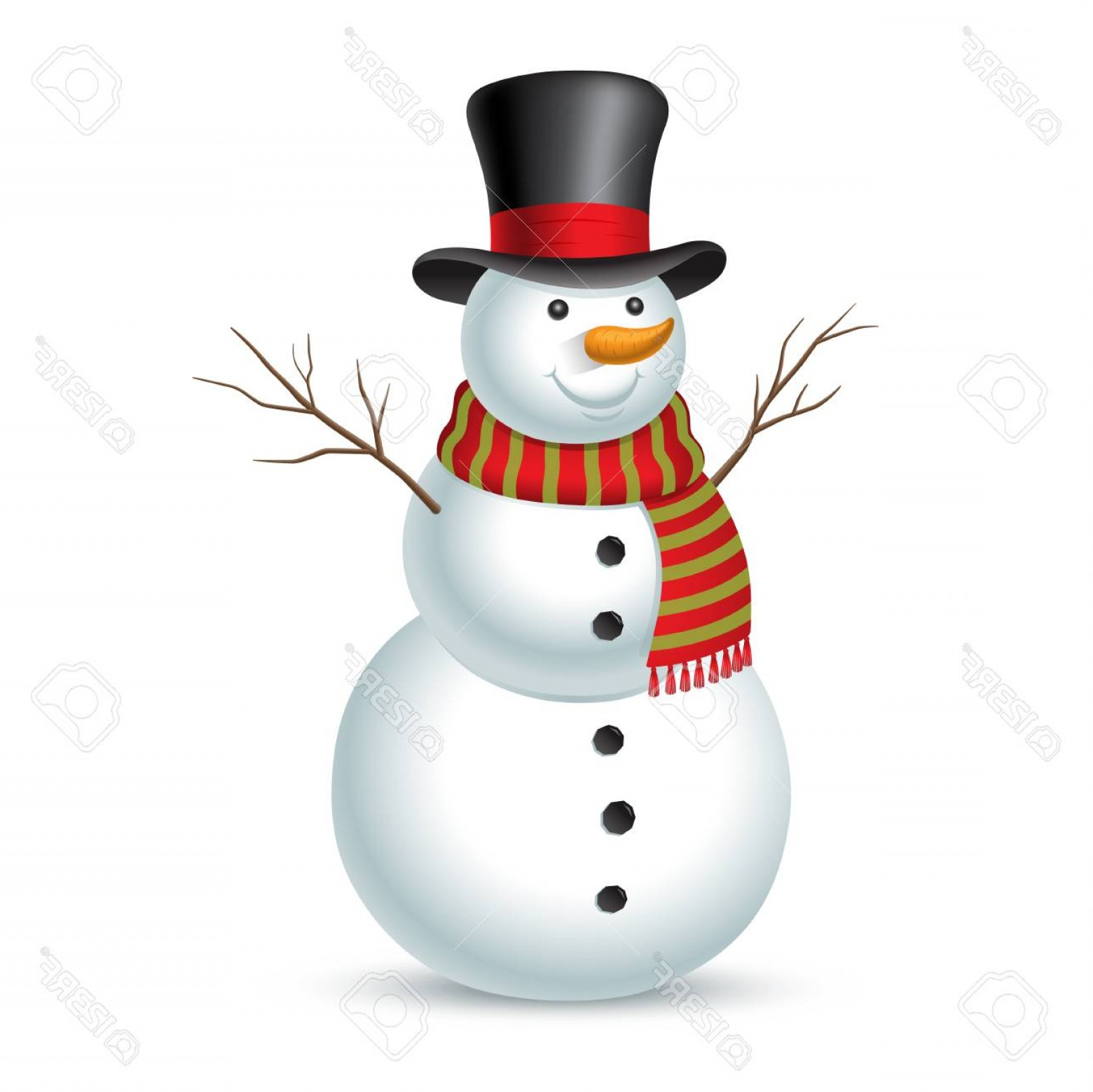 No Hat With Snowman Vector: Photostock Vector Christmas Snowman Vector Illustration