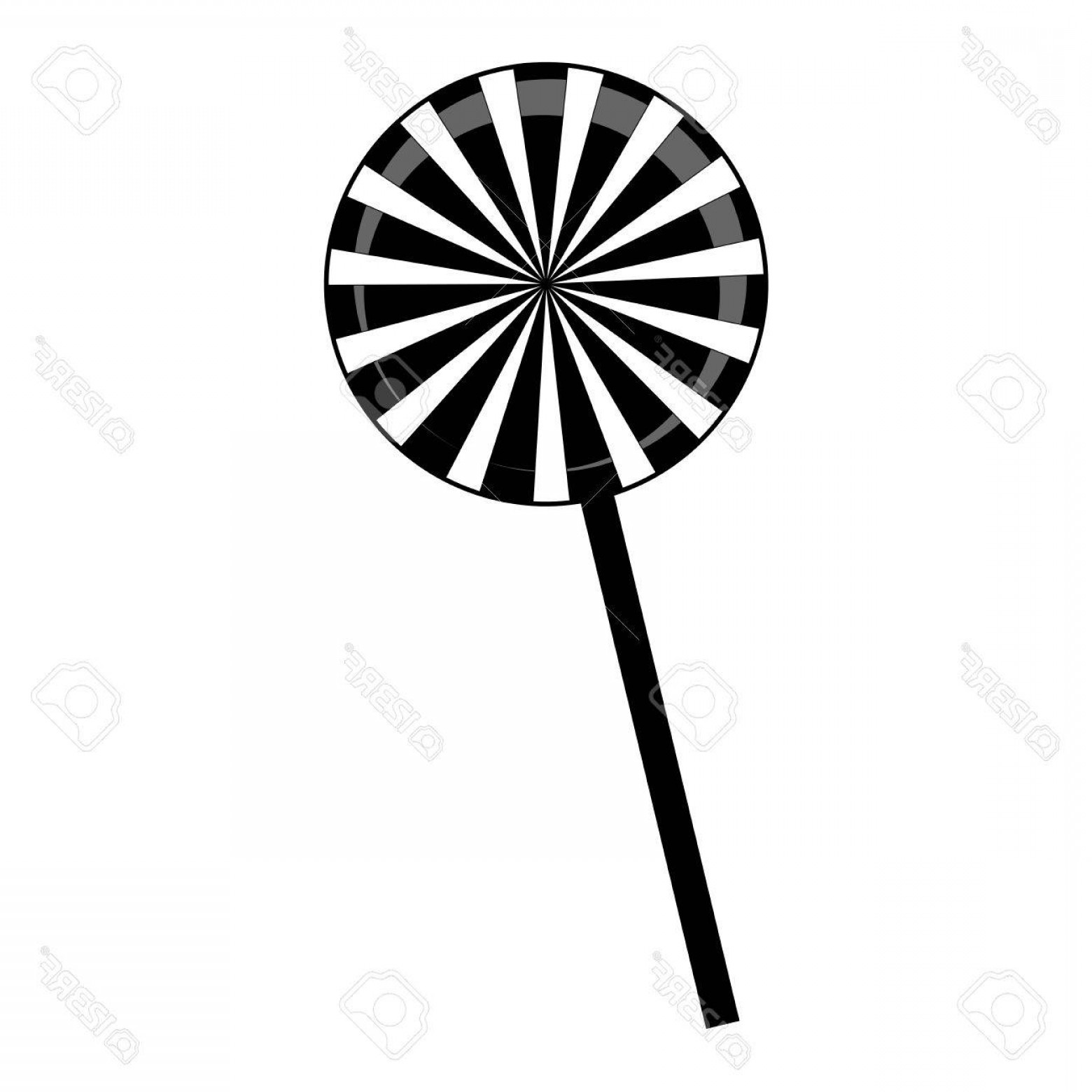 Lollipop Vector Silhouette: Photostock Vector Christmas Striped Lollipop Silhouette Spiral Sweet Candy With Black And White Stripes Vector Illustr