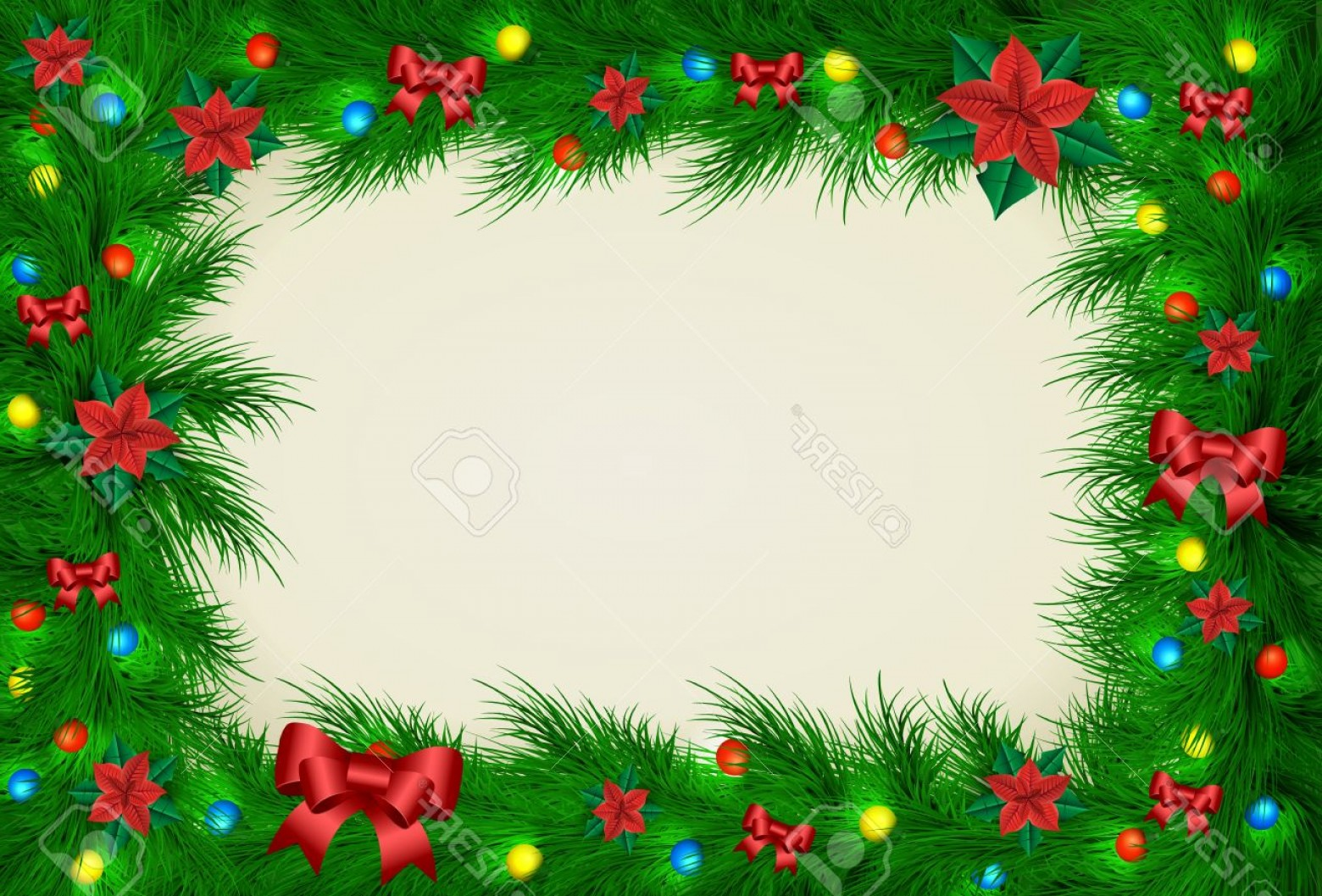 Christmas Horizontal Vector: Photostock Vector Christmas Vector Frame For Picture And Text Horizontal