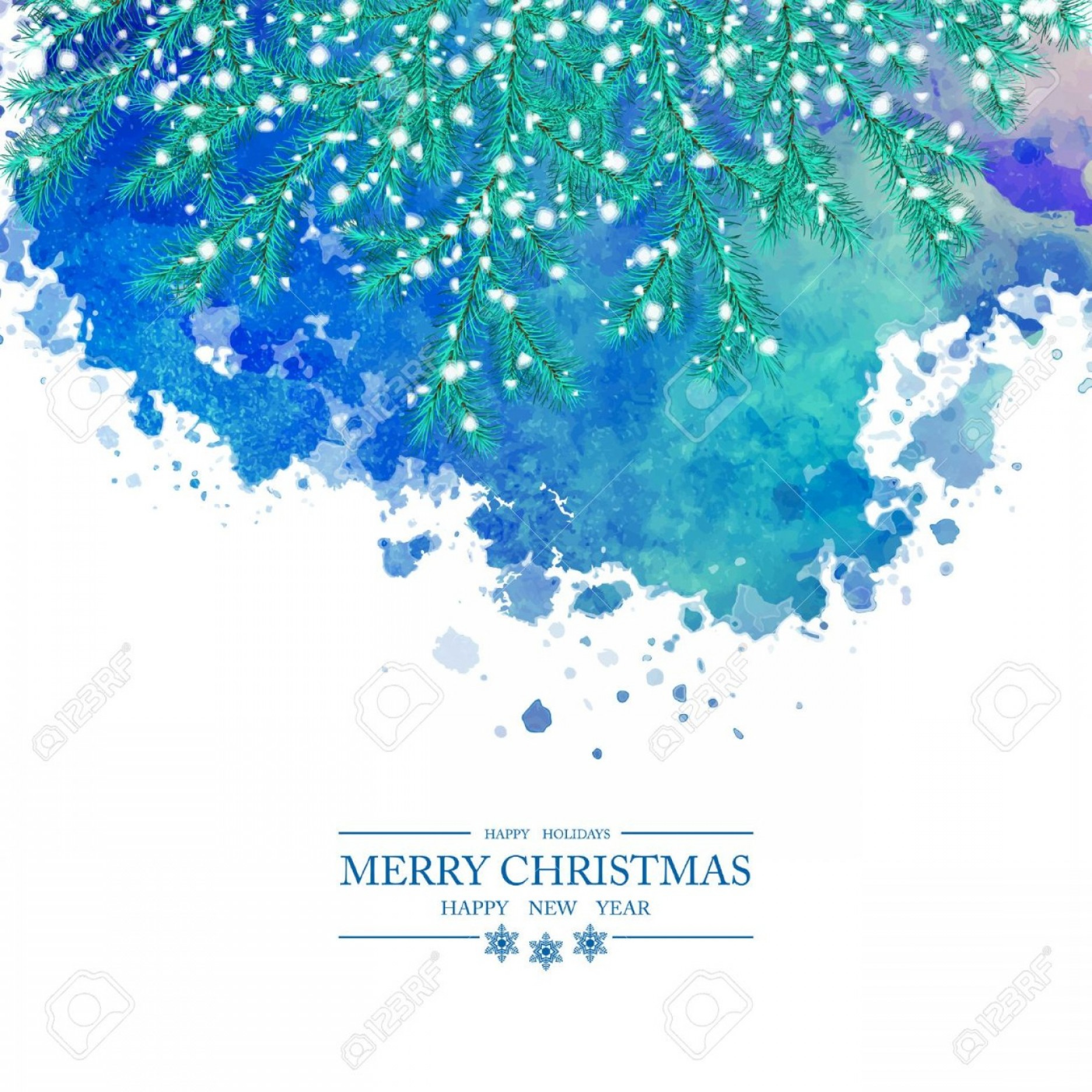 Watercolor Vector Free Designs: Photostock Vector Christmas Watercolor Vector Background Snow Covered Spruce Branches Abstract Painted Blot Merry Chri