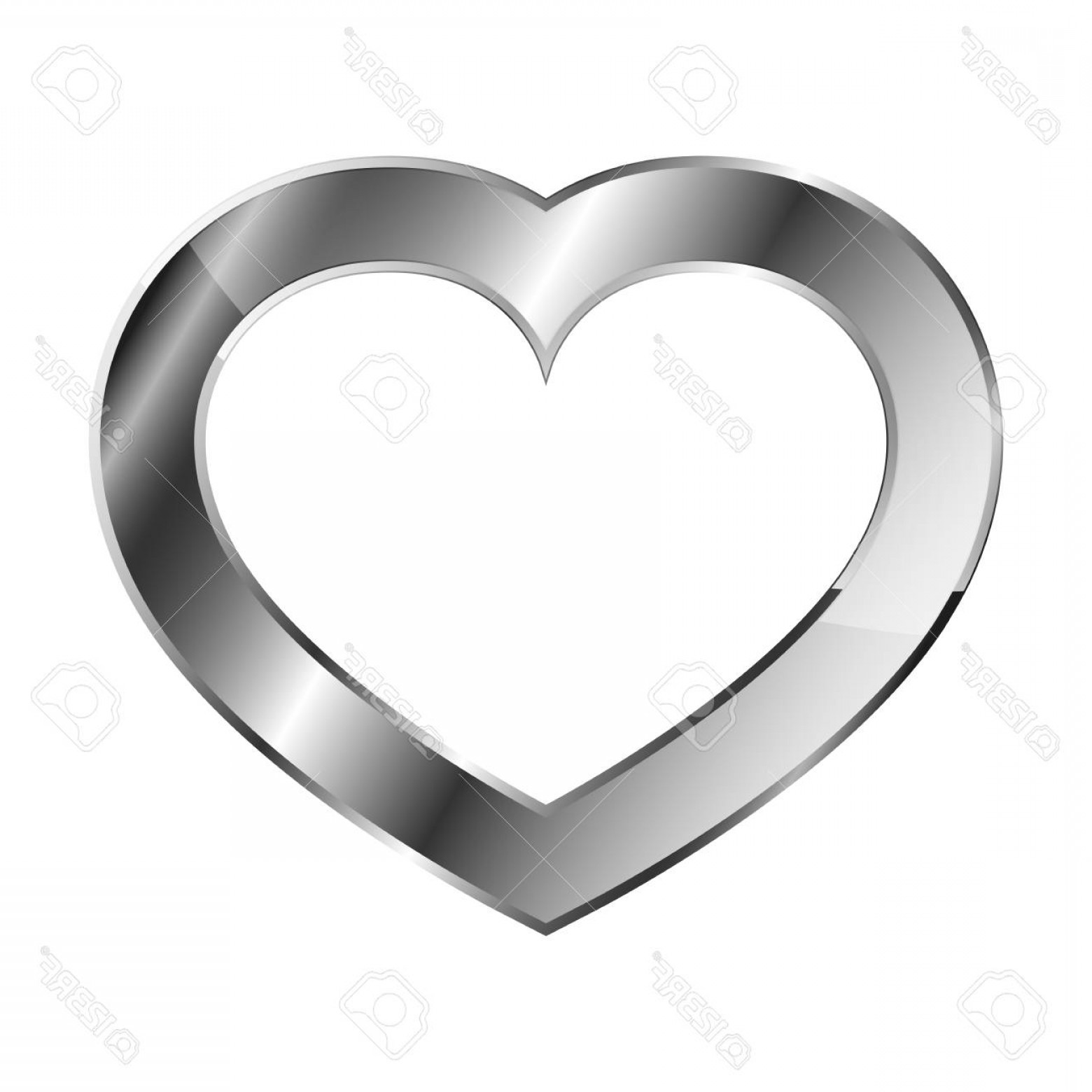 Silver Heart Vector: Photostock Vector Chrome Or Silver Heart Icon Vector Illustration Glossy Heart On White Background