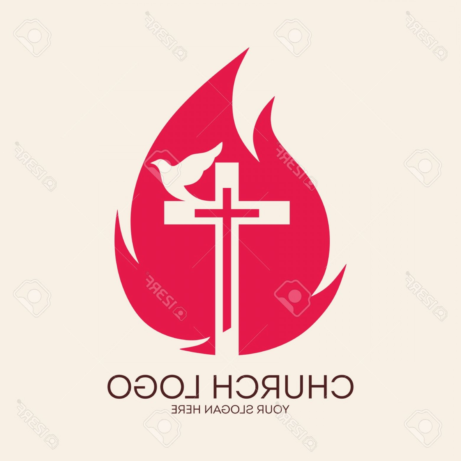 Cross Vector Logos: Photostock Vector Church Logo Cross Flames Dove Pentecost Symbol Icon Holy Spirit Fire