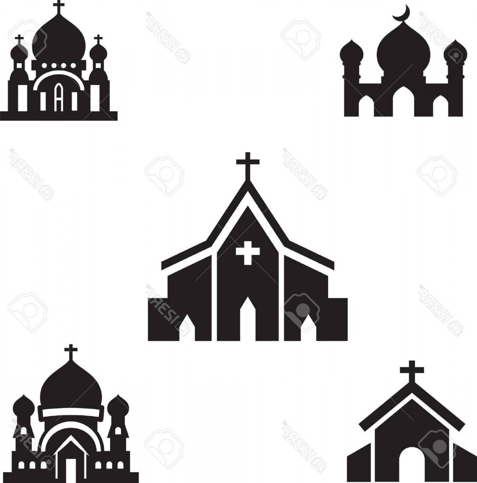 Church Silhouette Vector: Photostock Vector Church Silhouette Isolated Vector