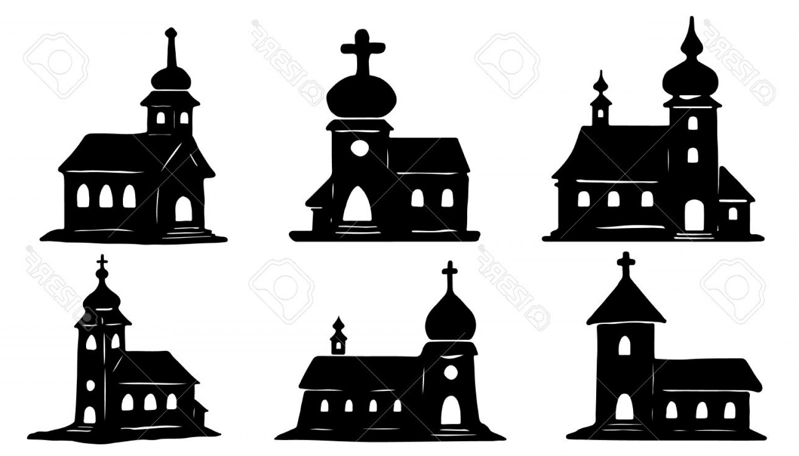 Church Silhouette Vector: Photostock Vector Church Silhouettes On The White Background