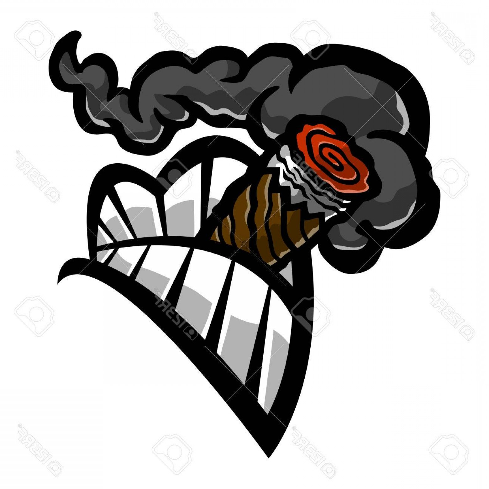Cigar Cartoon Vector: Photostock Vector Cigar Smoking Mouth Teeth Vector Icon