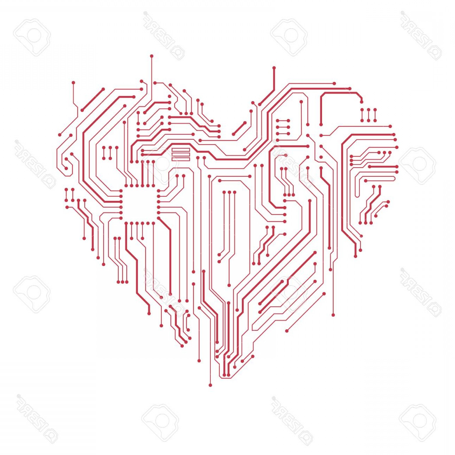 Motherboard Vector With A Heart: Photostock Vector Circuit Board Heart Symbol Valentine S Day Vector Card Computer Heart With Motherboard Elements
