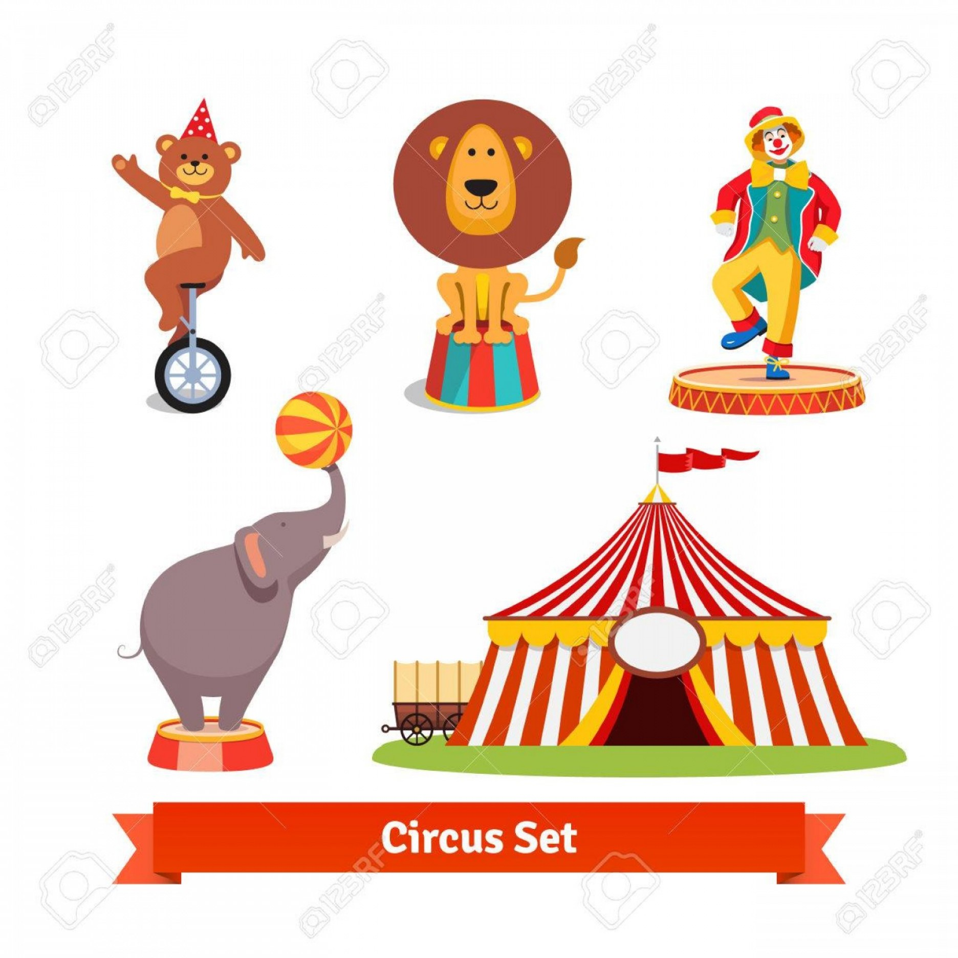 Circus Animals Vector Graphic: Photostock Vector Circus Animals Bear On Monocycle In Party Hat Lion Elephant Holding Ball On A Trunk Clown And Tent W