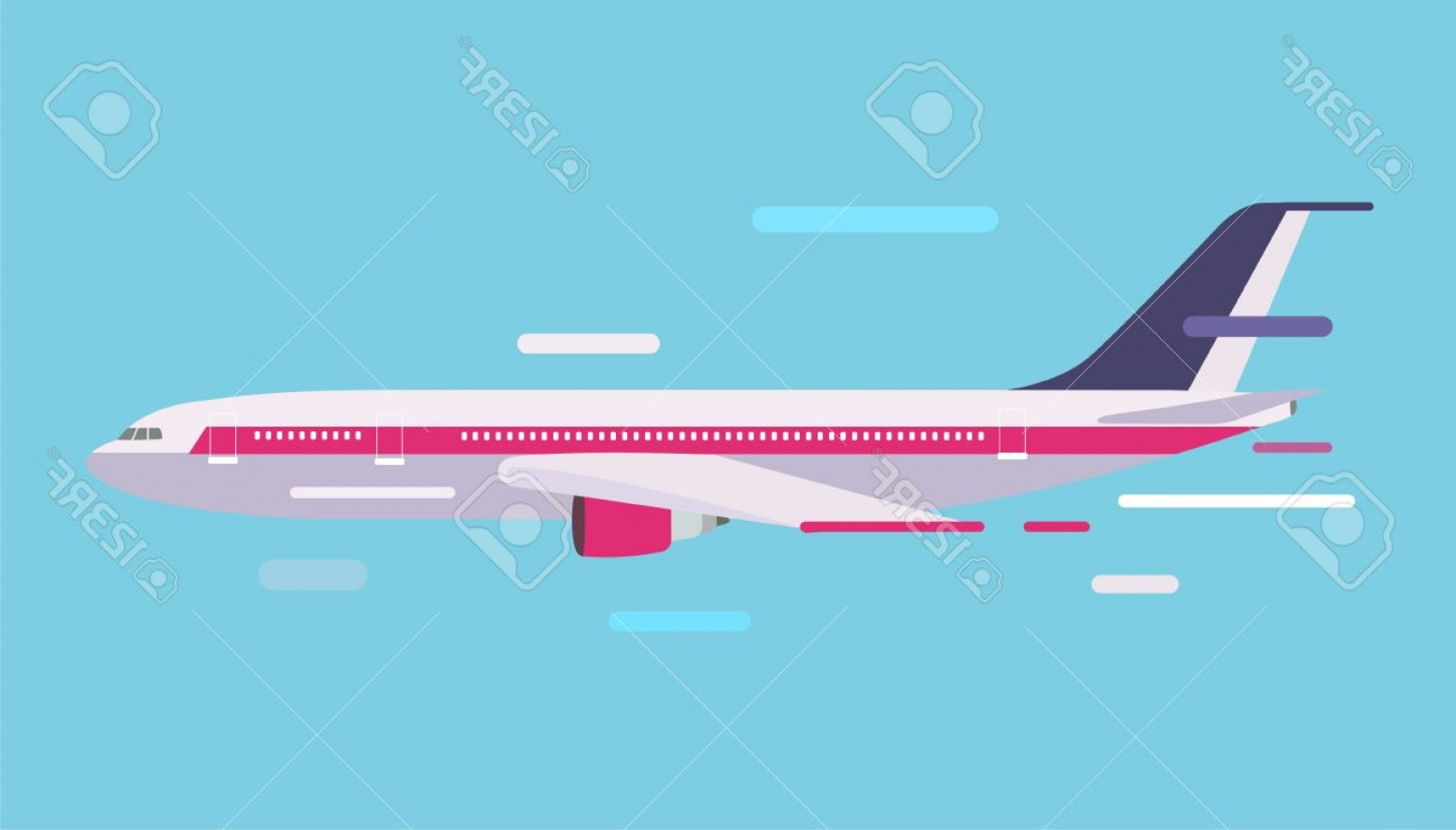 Airplane Travel Vectors: Photostock Vector Civil Aviation Travel Passenger Air Plane Vector Illustration Civil Commercial Airplane Flying Vecto