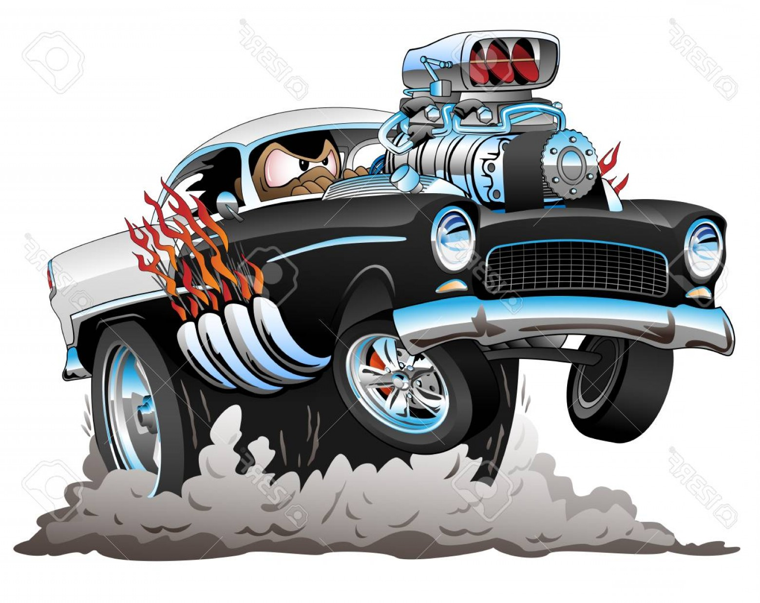 Vector Hot Rod Engines: Photostock Vector Classic American Fifties Style Hot Rod Funny Car Cartoon With Big Engine Flames Smoking Tires Poppin