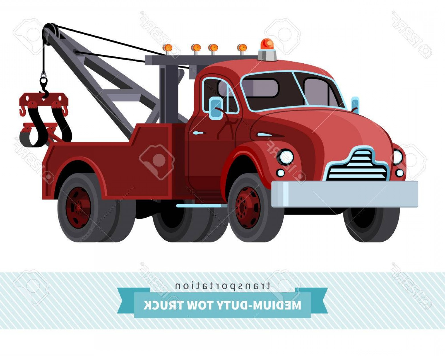 Towing Vector Clip Art: Photostock Vector Classic Medium Duty Tow Truck Front Side View