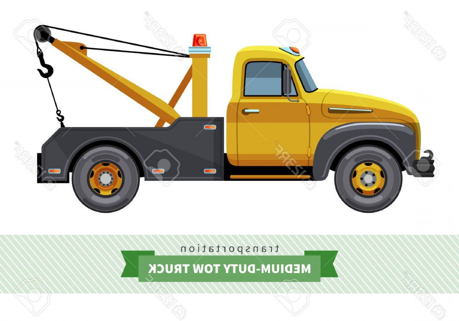 Towing Vector Clip Art: Photostock Vector Classic Medium Duty Tow Truck Side View Vector Isolated Illustration