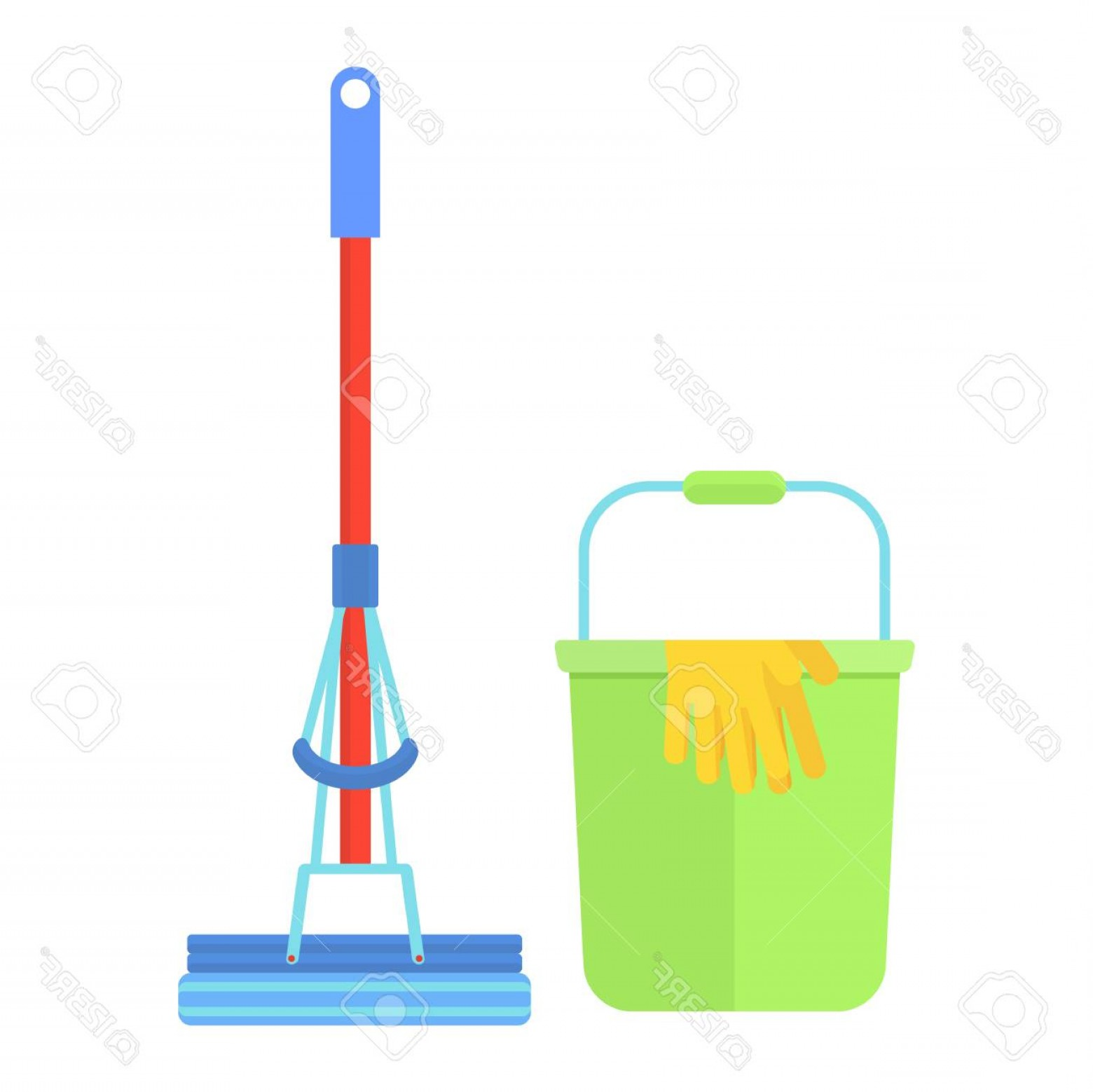 Mop And Bucket Clip Art Vector: Photostock Vector Clean Tools And Equipment Cleaning Mop And Bucket For Mopping Floor Cleaning Supplies For Janitor Sw
