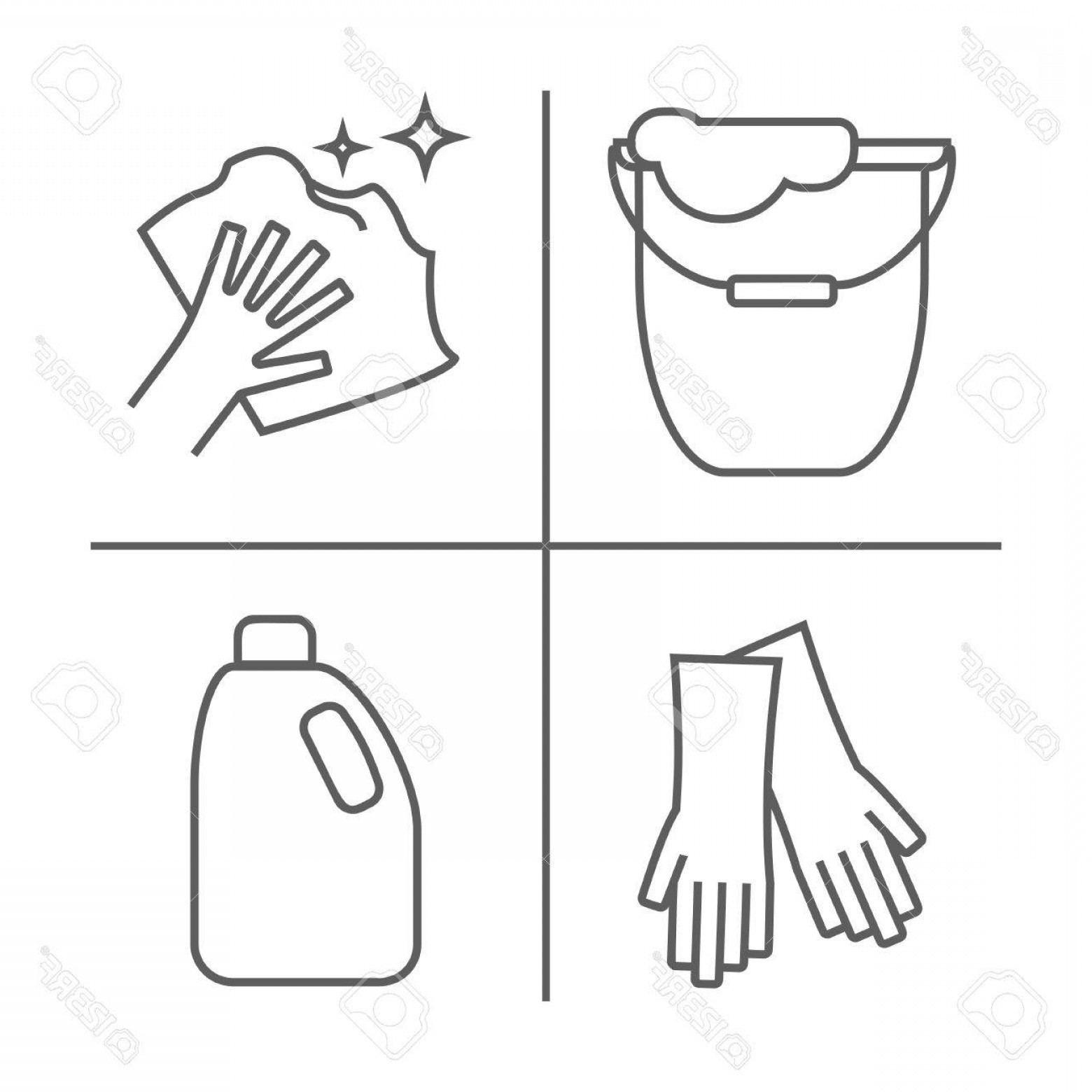 White Glove Service Vector: Photostock Vector Cleaning The Floor Line Icons A Bucket For Washing The Floor A Floorcloth Gloves And Other Cleaning