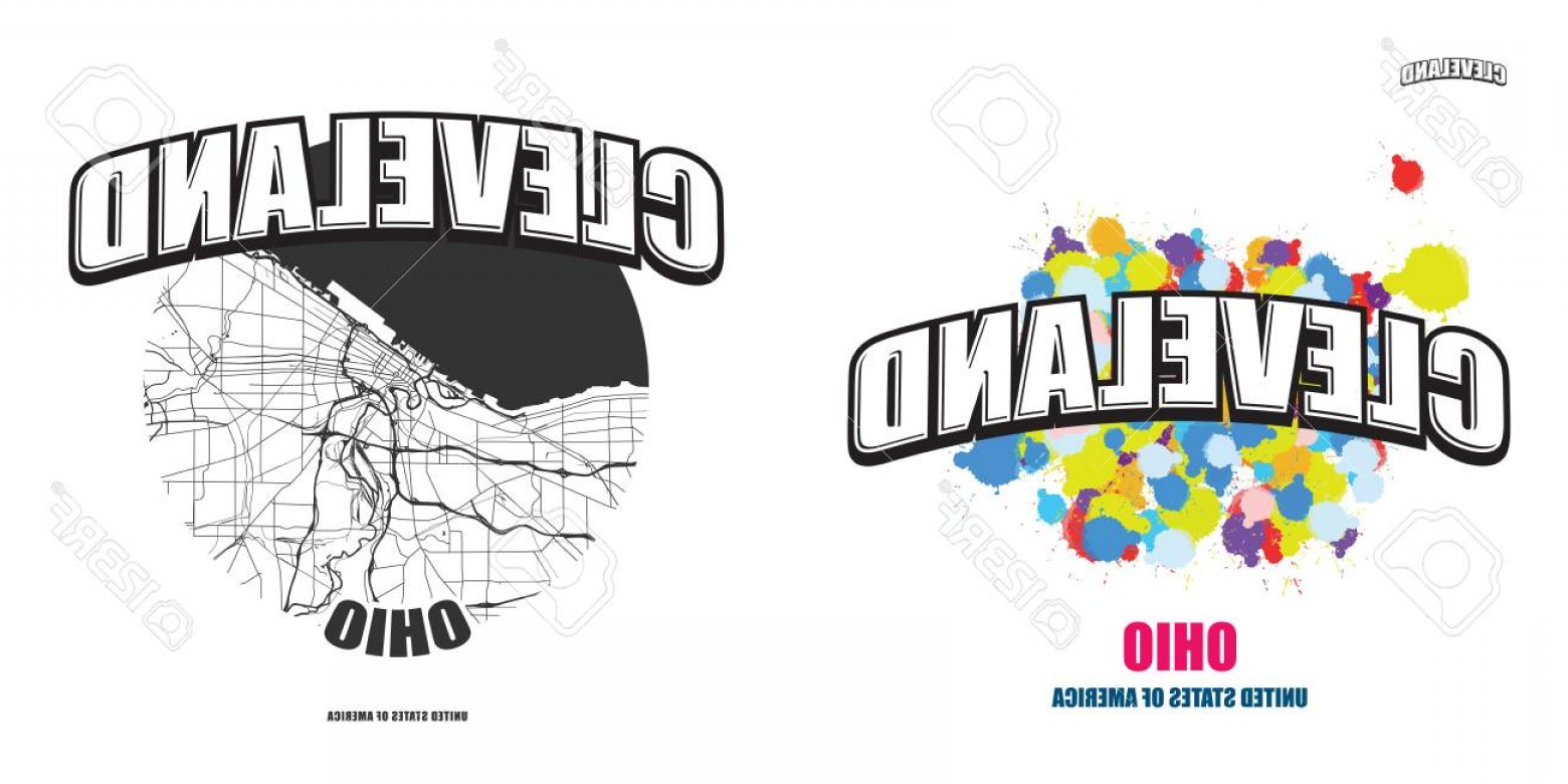 Ohio Vector Art: Photostock Vector Cleveland Ohio Logo Design Two In One Vector Arts Big Logo With Vintage Letters With Nice Colored Ba