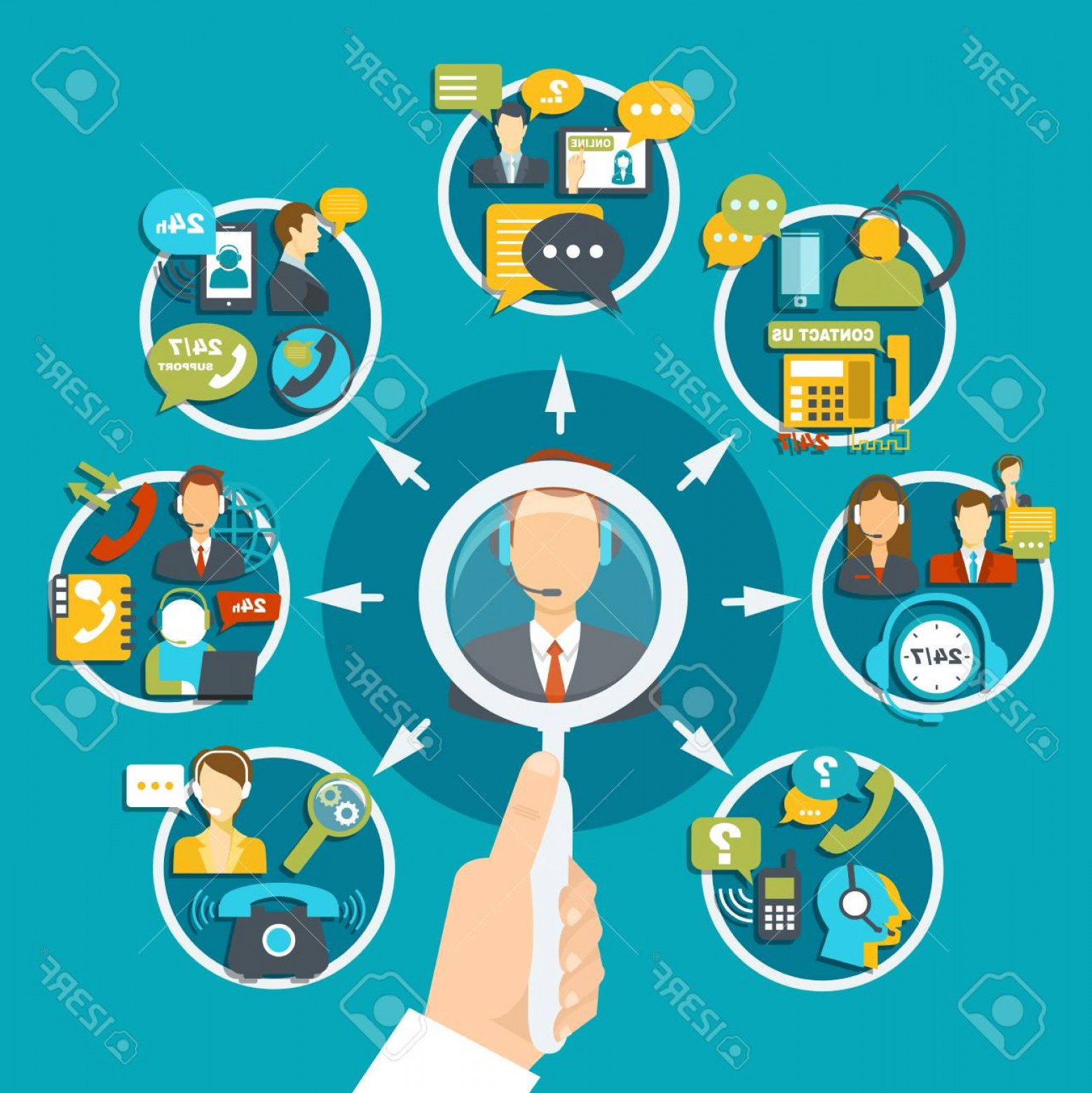 Support Staff Vector: Photostock Vector Client Support Service Composition On Turquoise Background With Magnifier In Hand Staff During Custo