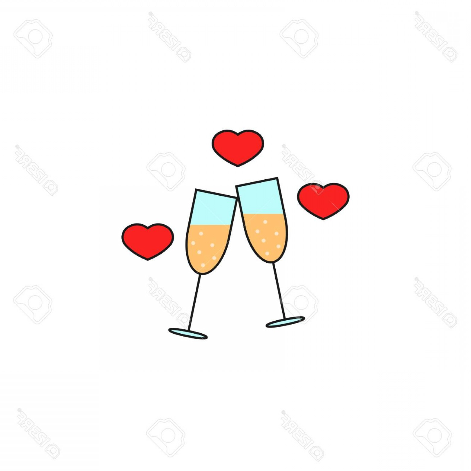 Solid Heart Vector Drawing: Photostock Vector Clinking Champagne Glasses With Hearts Solid Icon Stemware And Wineglasses Vector Graphics A Colorfu
