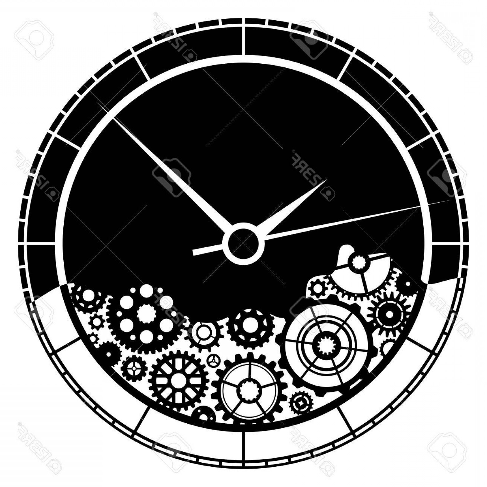 Watch Gears Vector: Photostock Vector Clock And Gears Illustration Clock Consists Of Various Gears Isolated On White Background