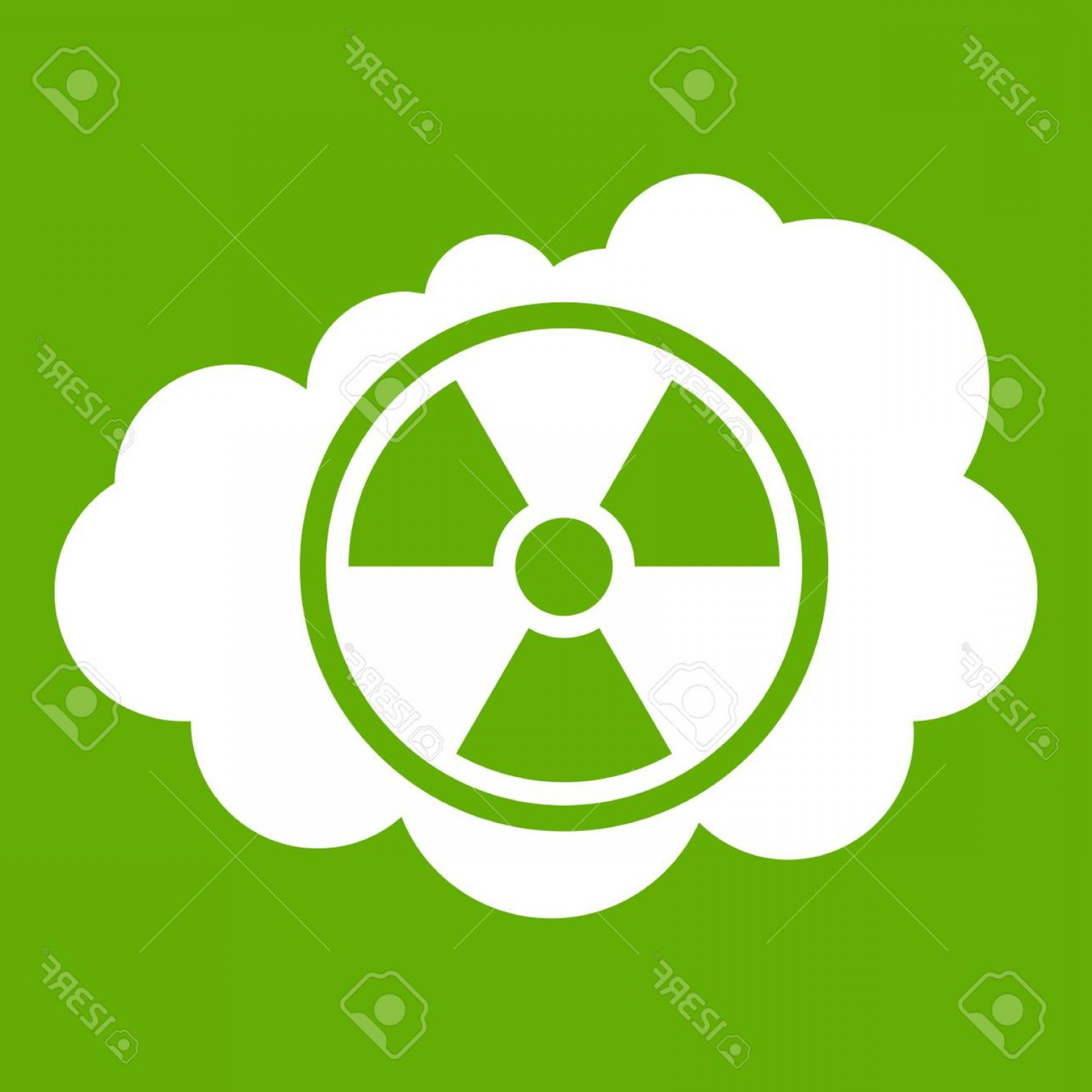 Radioactive Symbol Vector: Photostock Vector Cloud And Radioactive Sign Icon Green