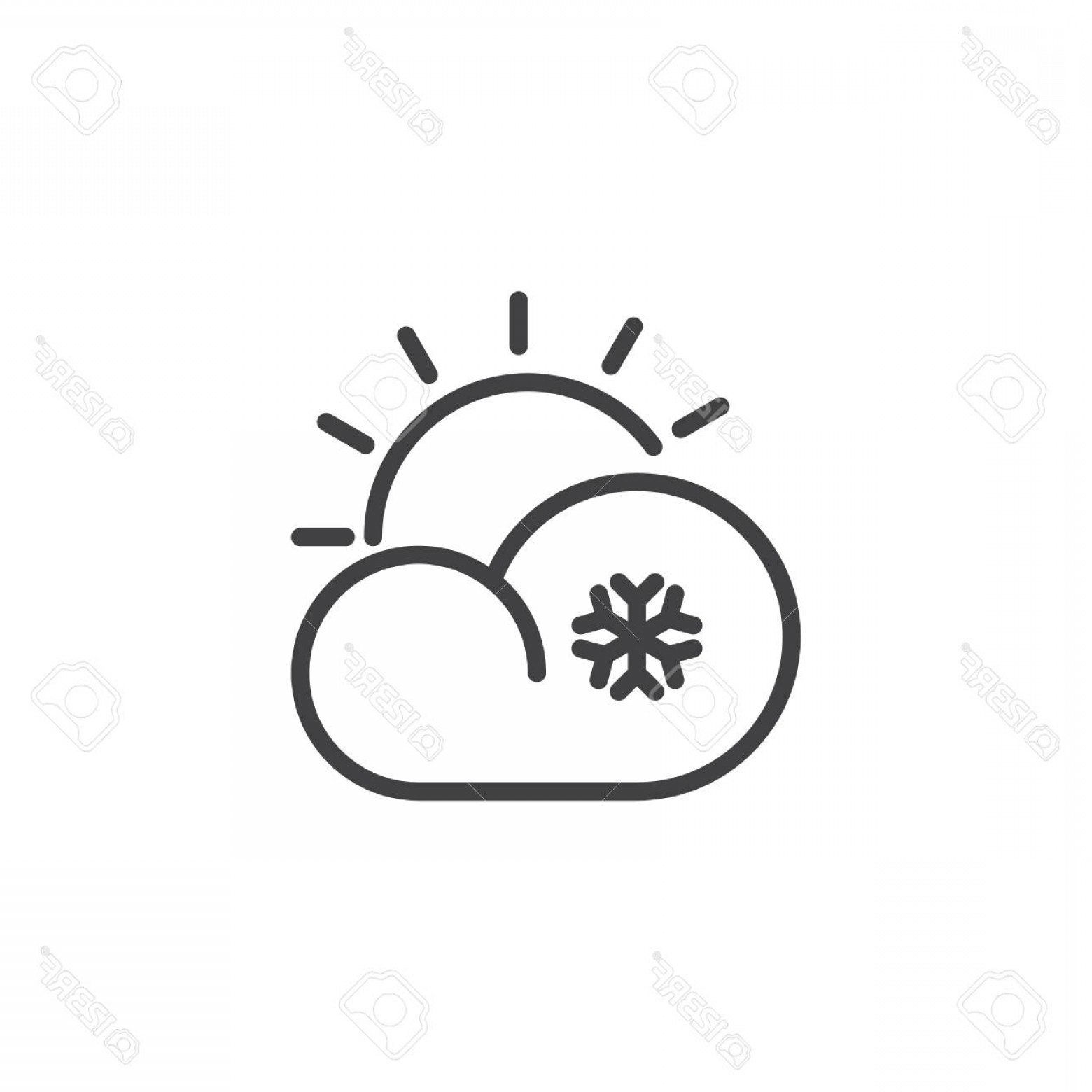 Cloud Outline Vector Black And White: Photostock Vector Cloud Snow Sun Line Icon Outline Vector Sign Linear Style Pictogram Isolated On White Snowflake And