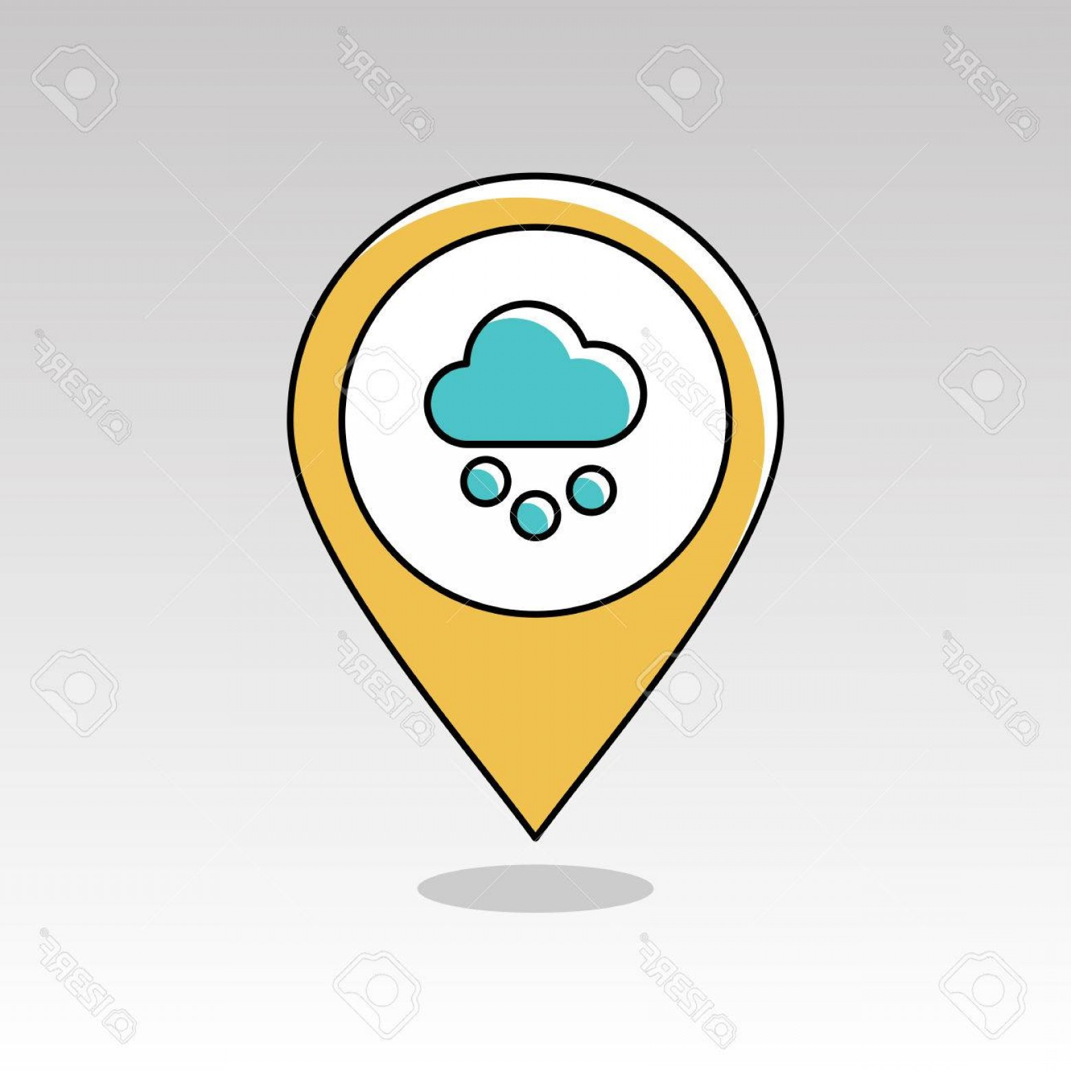 Snow Cone Outline Vector: Photostock Vector Cloud With Snow Grain Outline Pin Map Icon Map Pointer Map Markers Meteorology Weather Vector Illust