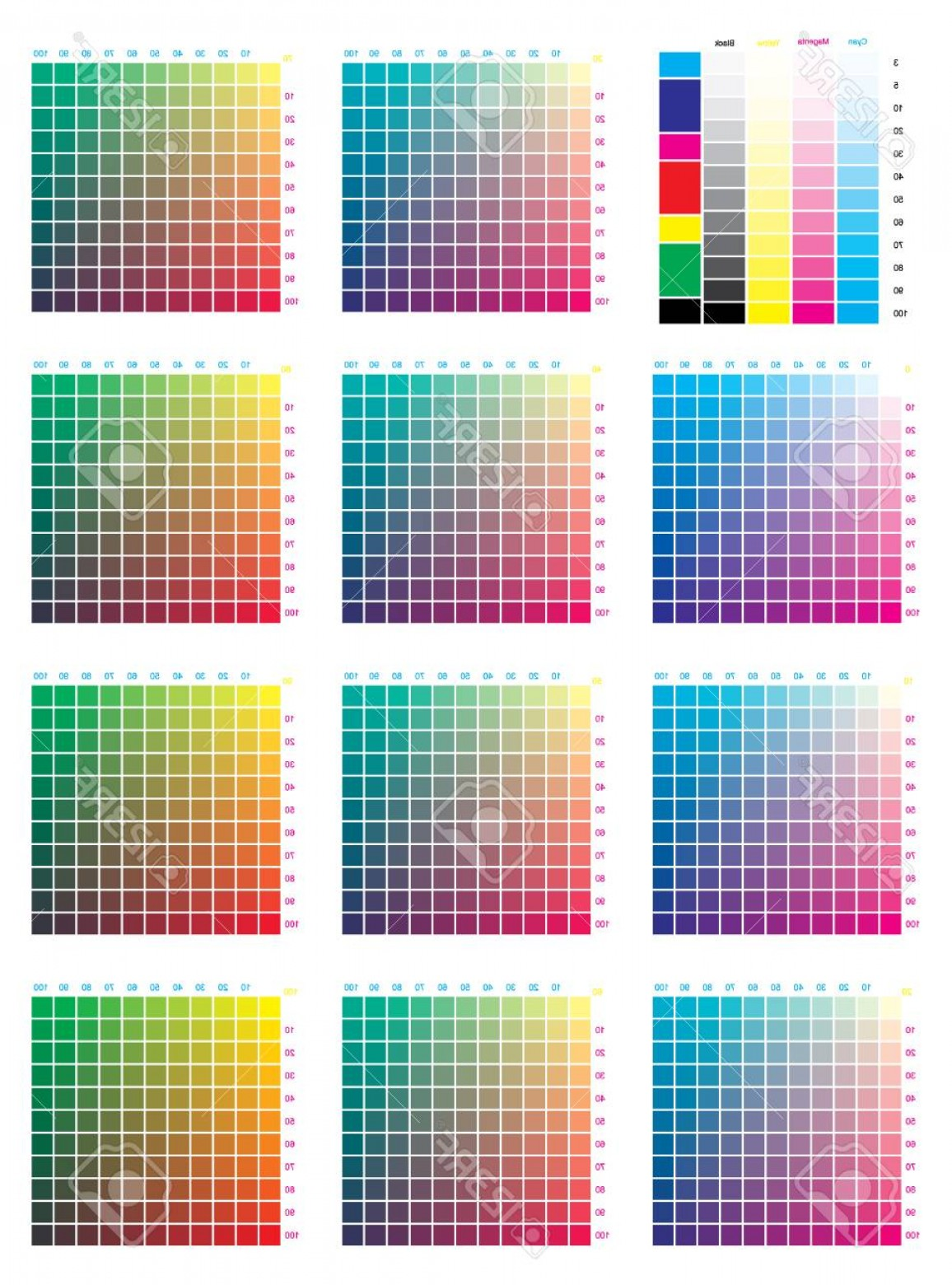 Color CMYK Chart Vector Free: Photostock Vector Cmyk Press Color Chart Vector Color Palette Cmyk Process Printing Match For Digital Design Animation