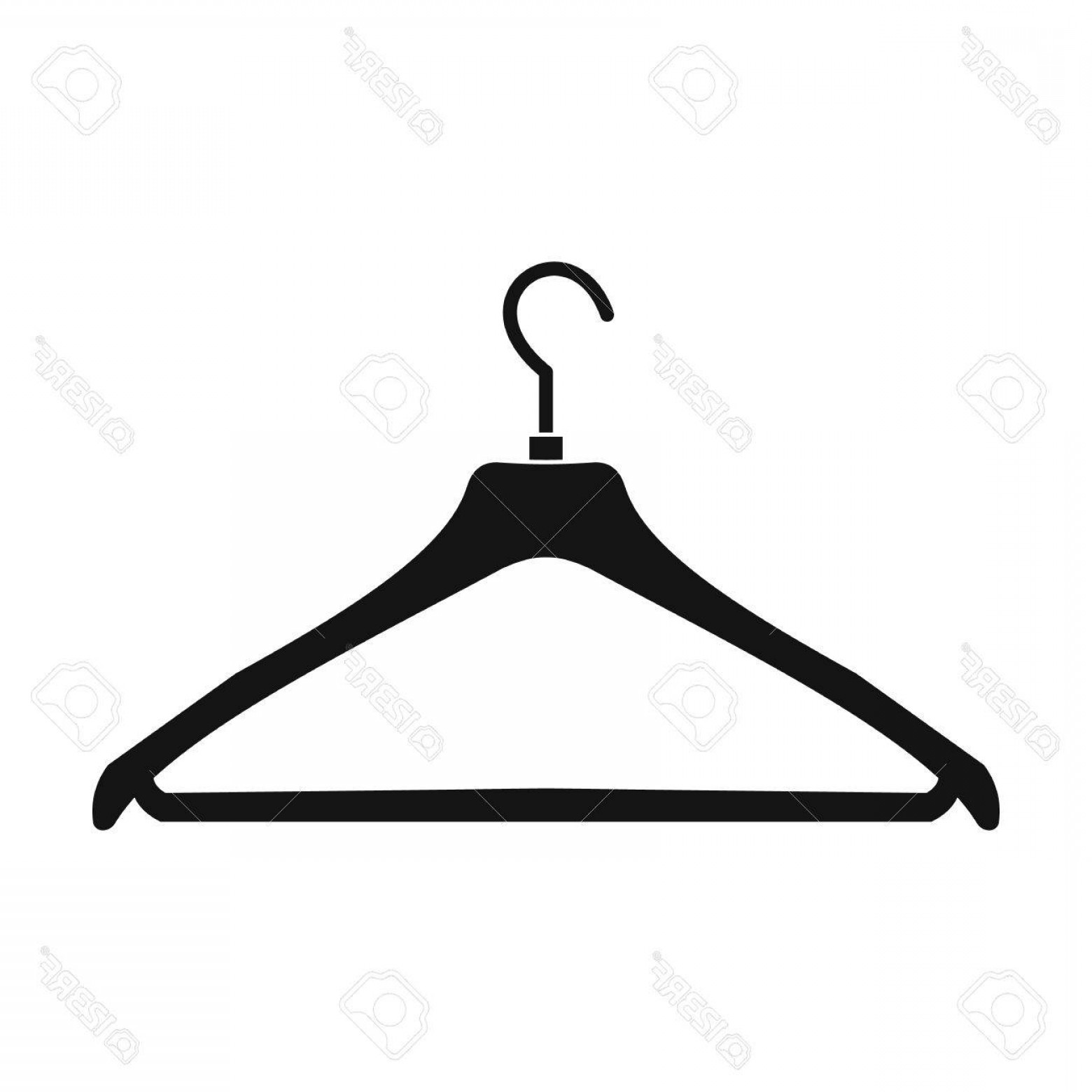 Shirt Hanger Icon Vector: Photostock Vector Coat Hanger Black Simple Icon Isolated On White Background