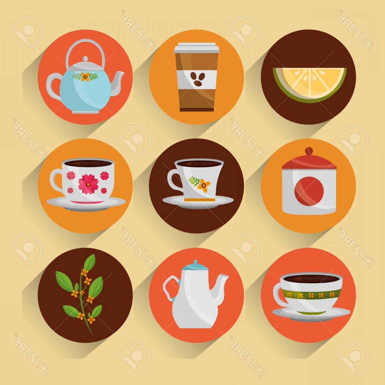 Vector Maker: Photostock Vector Coffee And Tea Time Set Teapot Coffee Maker Cups Vector Illustration