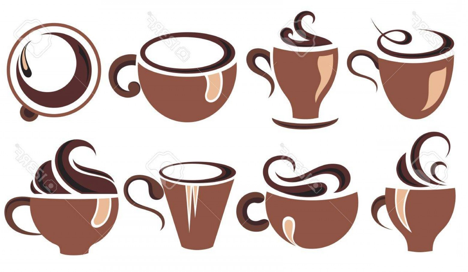 Tea Set Vector: Photostock Vector Coffee Cup Set Tea Cup Vector Icon Collection