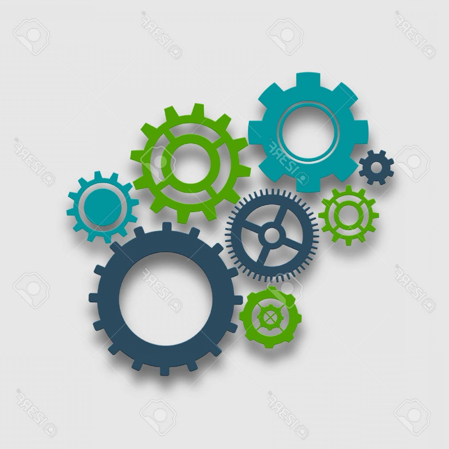 Vector Mechanical Clock Wheels: Photostock Vector Cog Wheel Colored Composition Mechanical Gears Teamwork Concept Vector Illustration