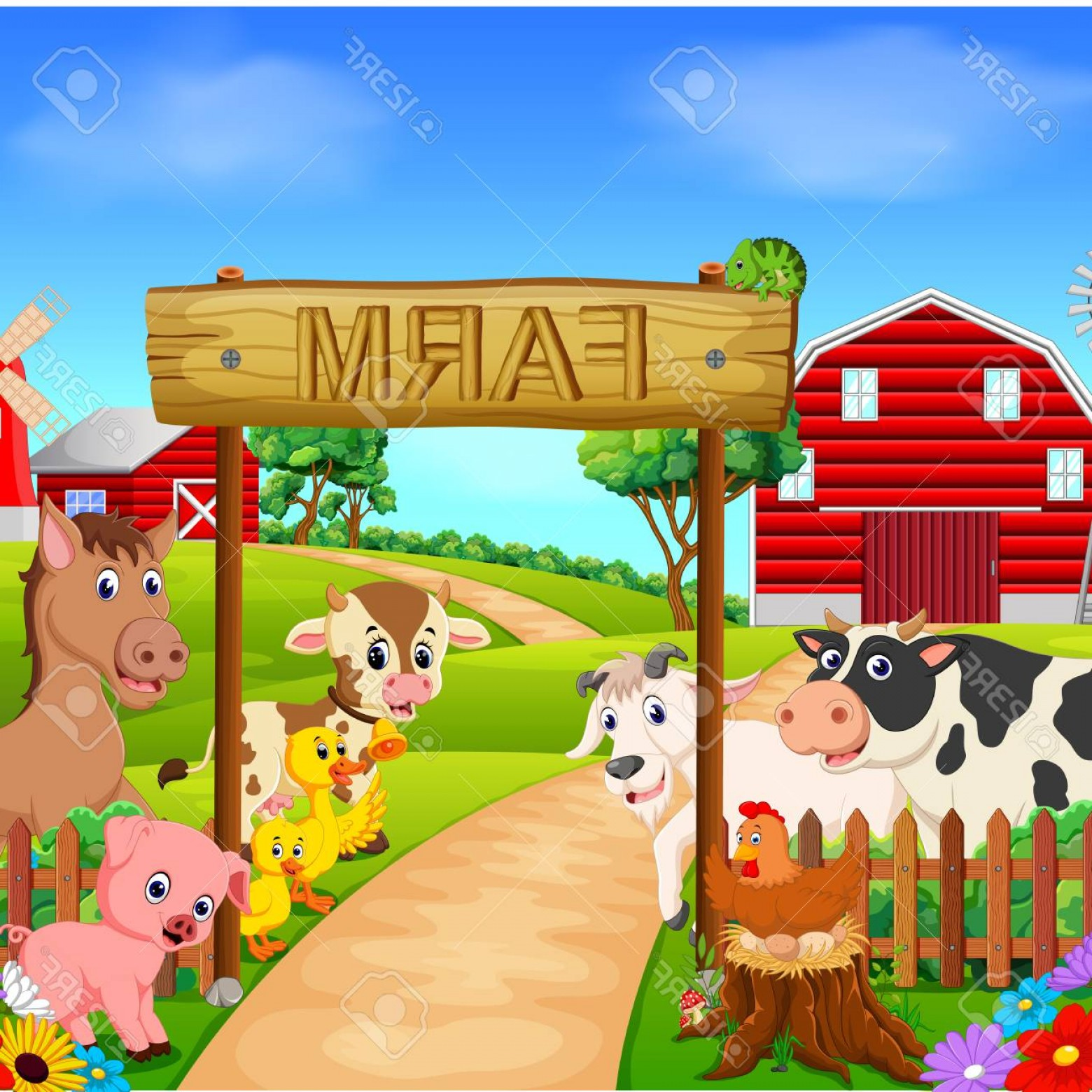 Farm Vector Illustration: Photostock Vector Collection Animal In The Farm Vector Illustration