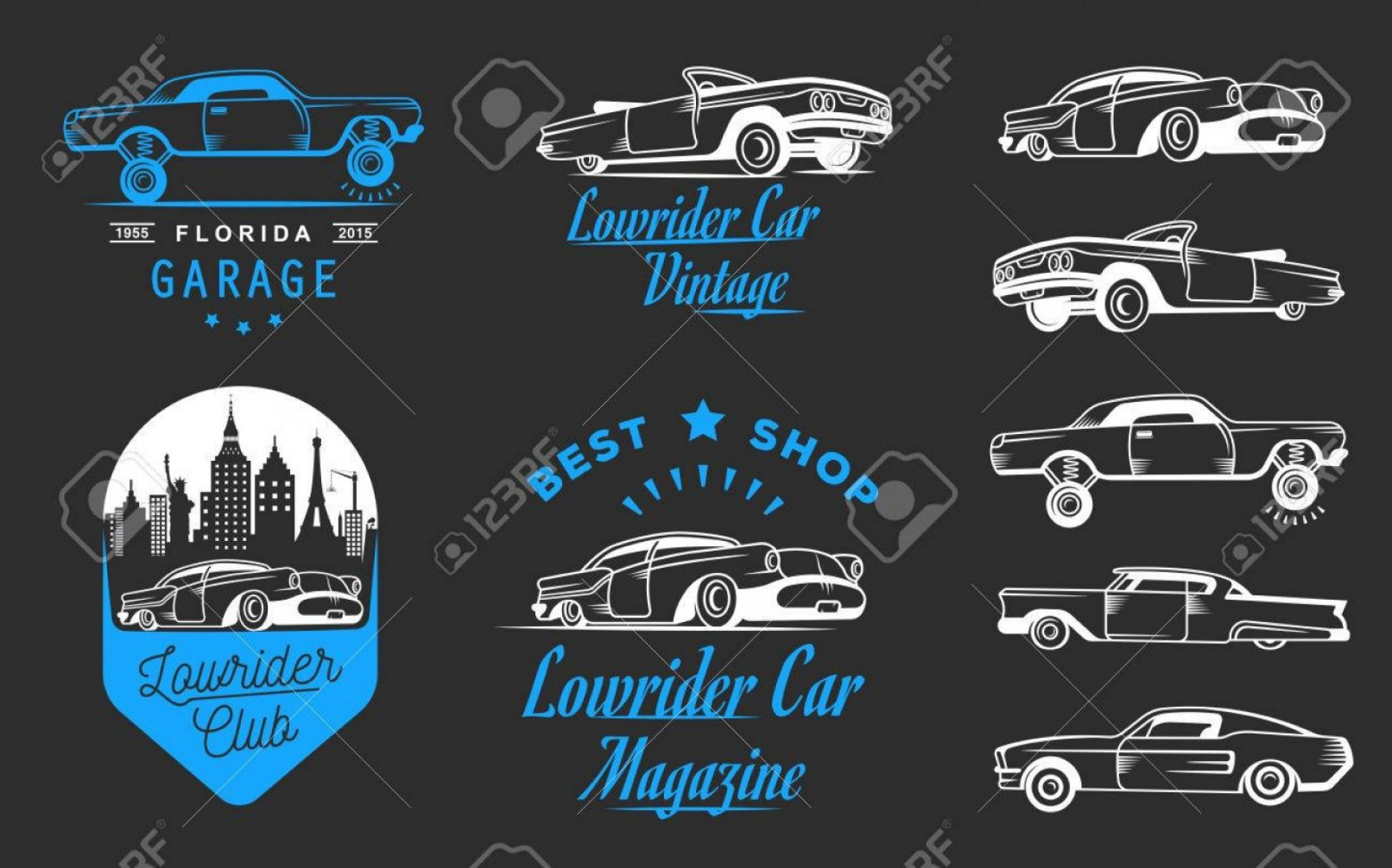 Old Impala Logo Vector: Photostock Vector Collection Blue And White Classic And Retro Old Car Icon