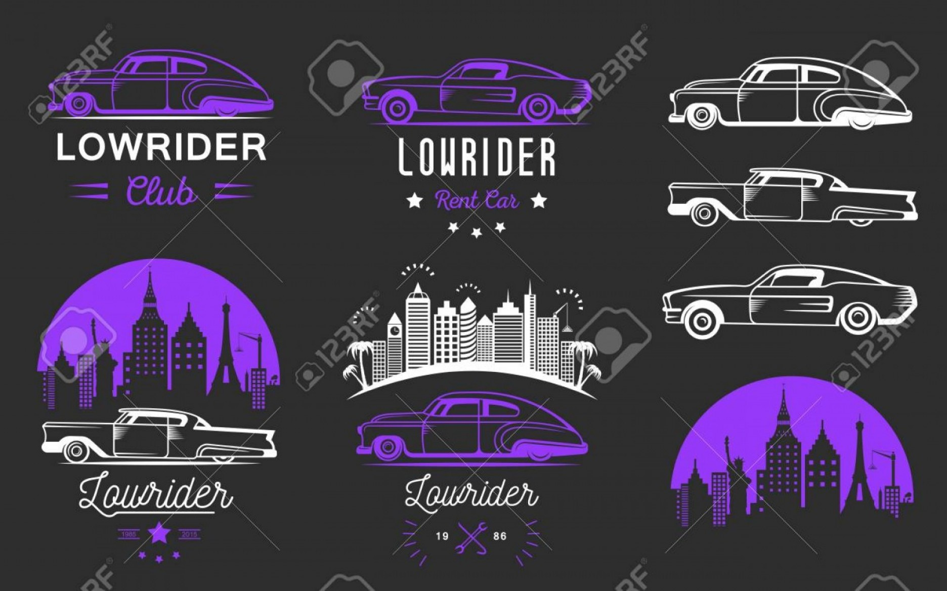 Old Impala Logo Vector: Photostock Vector Collection Classic And Retro Old Car Icon
