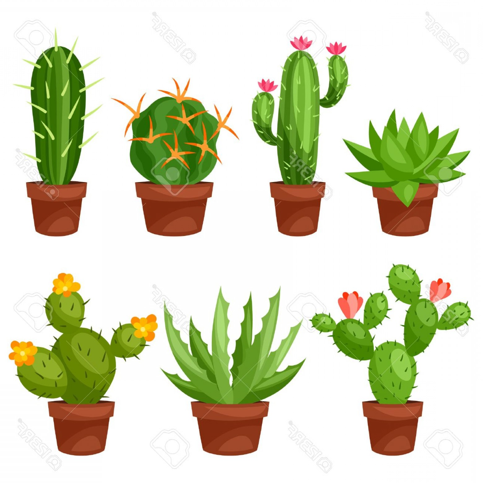 Cactus And Flower Vector: Photostock Vector Collection Of Abstract Cactuses In Flower Pot