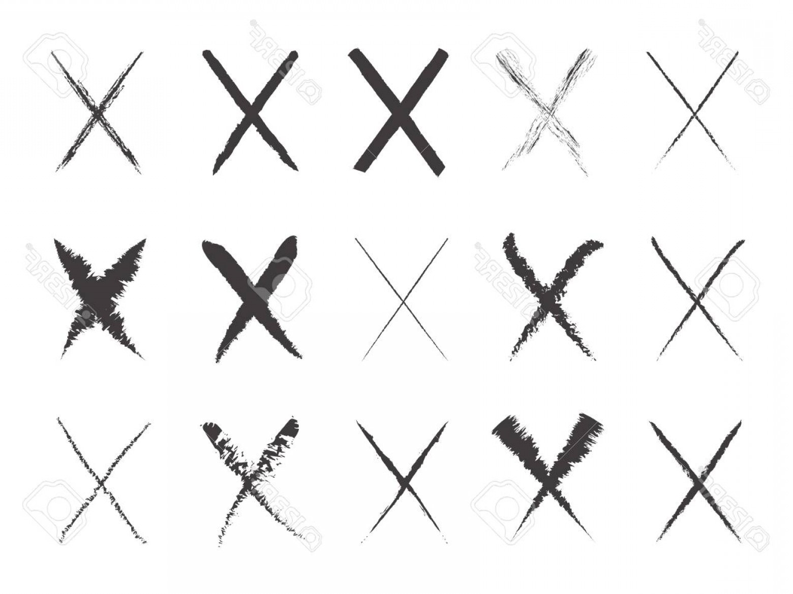 Vector X-15 Art: Photostock Vector Collection Of Black Hand Painted X Marks Vector Illustration Brush Stroke Wrong Icons X Symbol Ic
