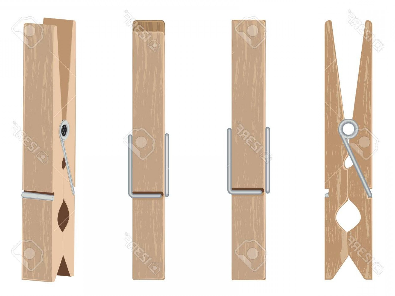 Vector Clothes Pins: Photostock Vector Collection Of Brown Wooden Clothespins Pegs Illustration