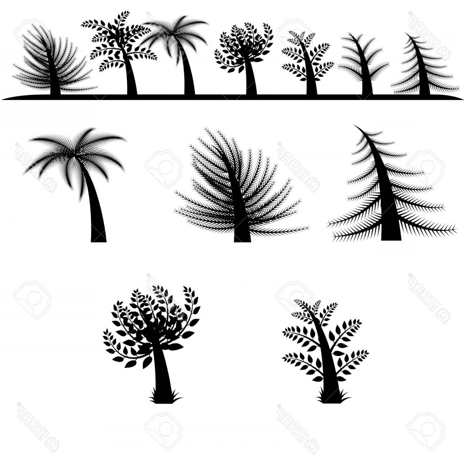 Contoon Free Black Vector Tree: Photostock Vector Collection Of Cartoon Style Vector Tree Silhouettes